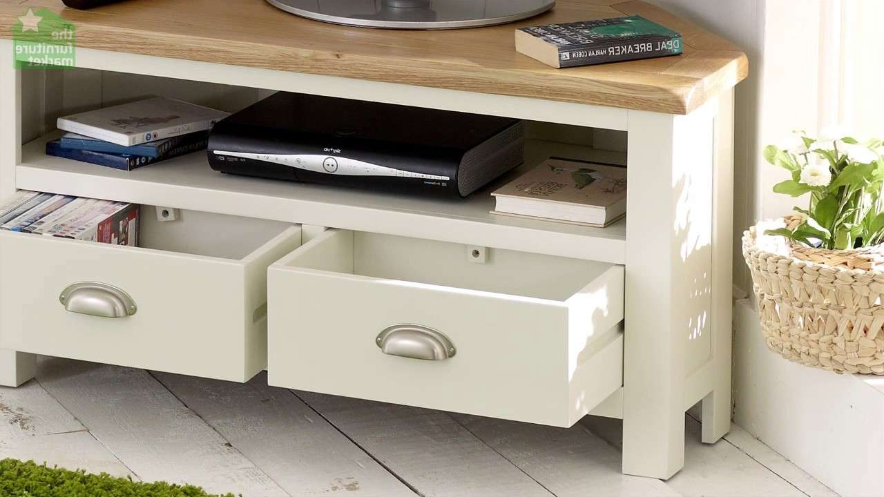 Cotswold Cream Painted Corner Tv Unit With Oak Top – Youtube For Painted Corner Tv Cabinets (View 15 of 20)