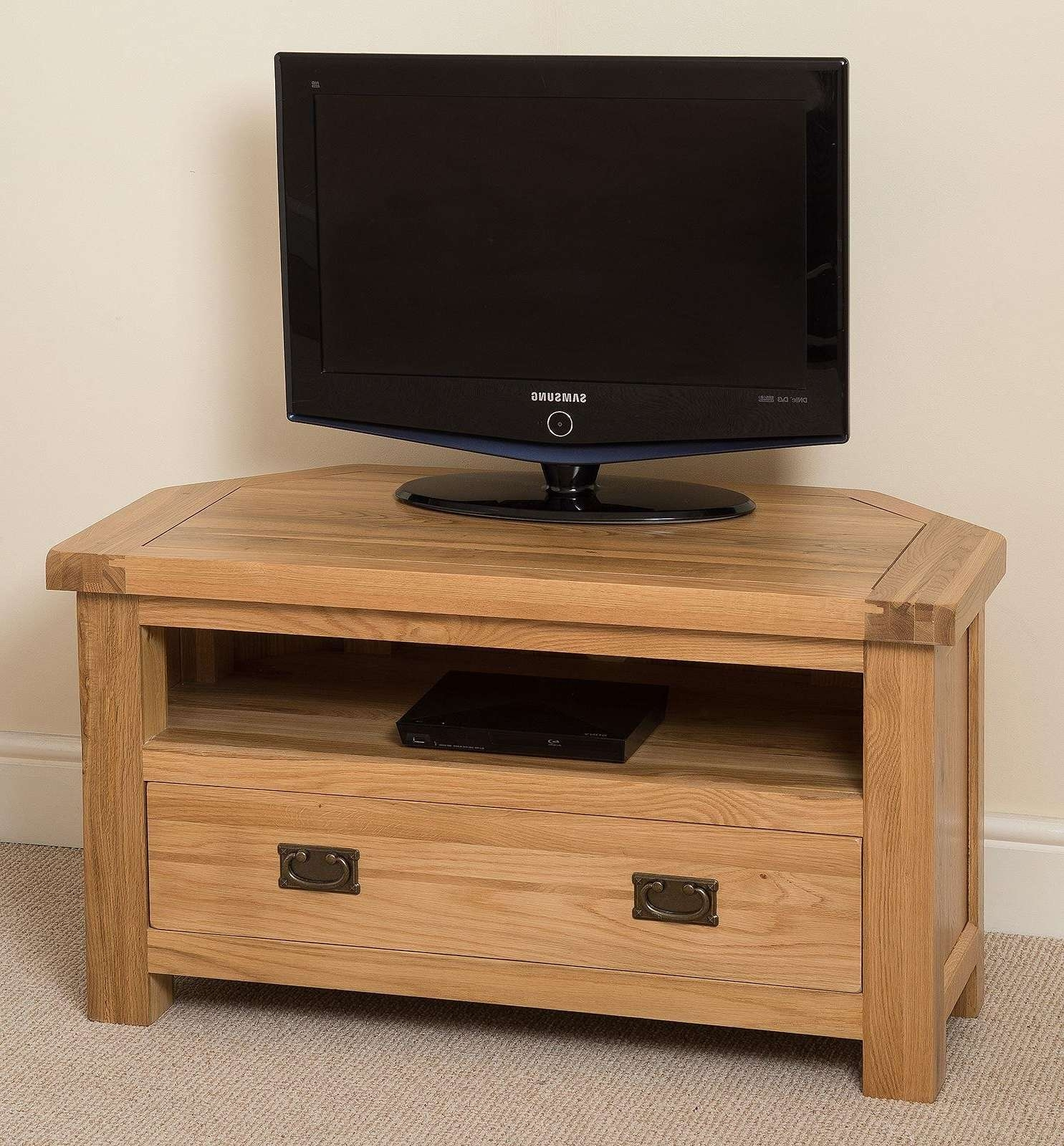 Cottage Light Solid Oak Corner Tv Unit | Oak Furniture King Regarding Light Oak Corner Tv Cabinets (View 4 of 20)