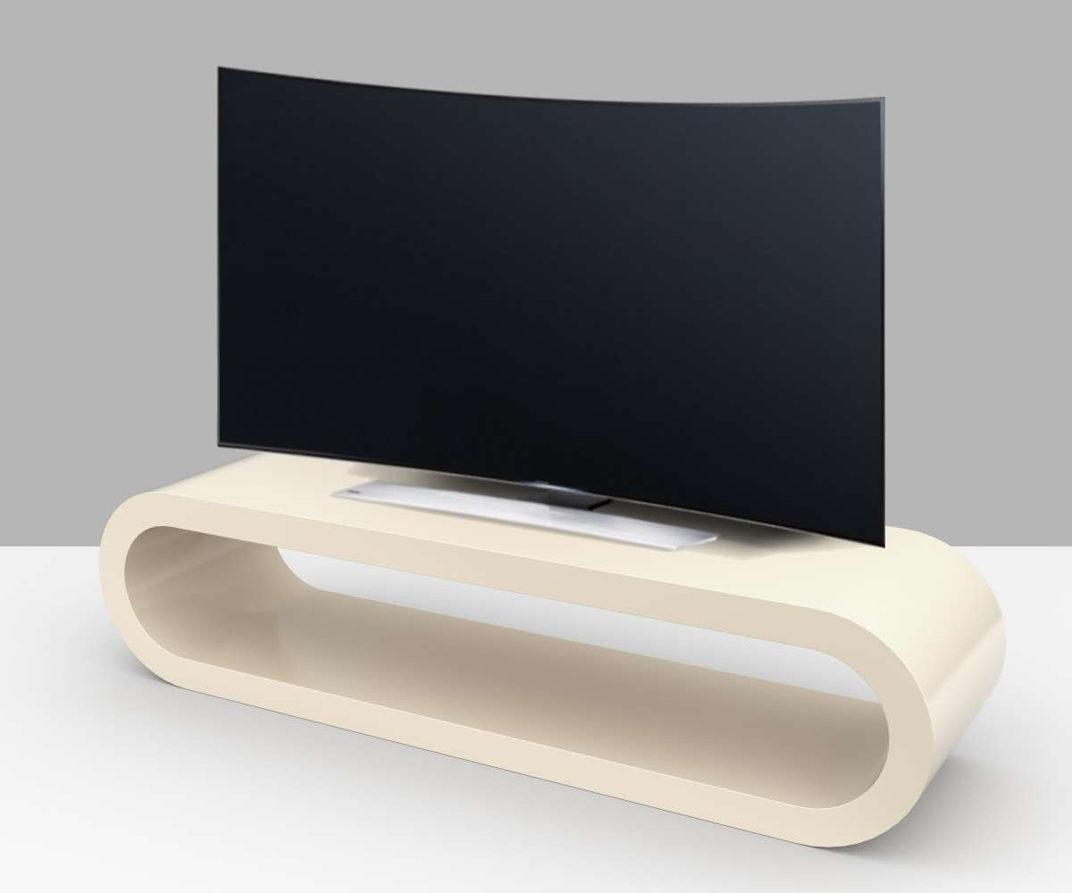 Cream Gloss Tv Stand – Zestretch Hoop – Free Uk Delivery – Zespoke With Regard To Cream Gloss Tv Stands (View 4 of 15)