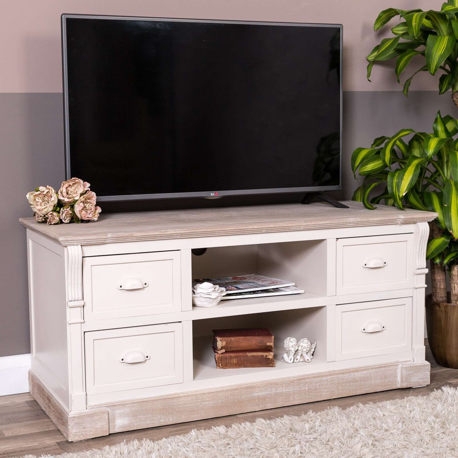 Cream Television Cabinet French Country Living Room Tv Console For Cream Tv Cabinets (View 4 of 20)