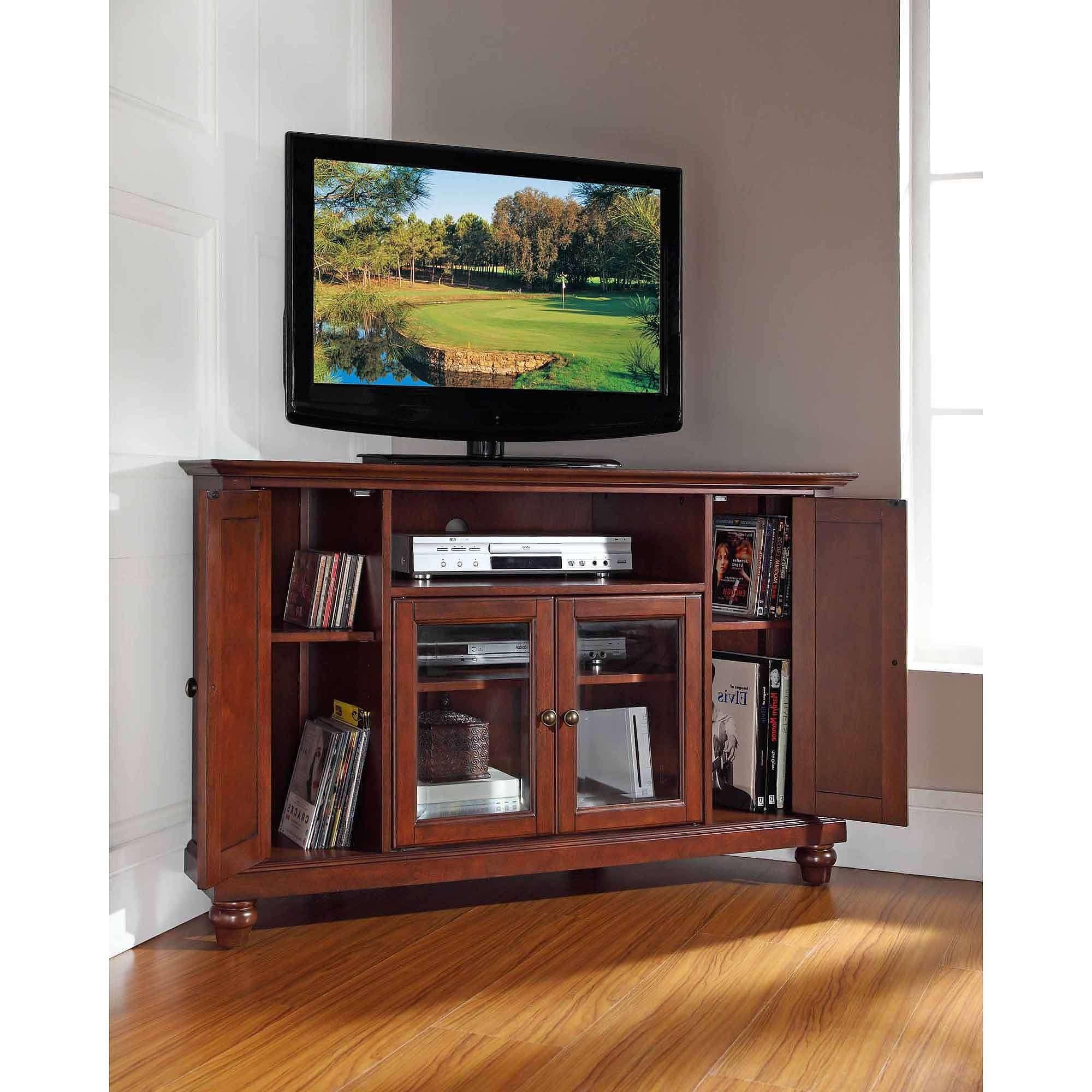 Crosley Furniture Cambridge Corner Tv Stand For Tvs Up To 48 Regarding Mahogany Corner Tv Cabinets (View 2 of 20)