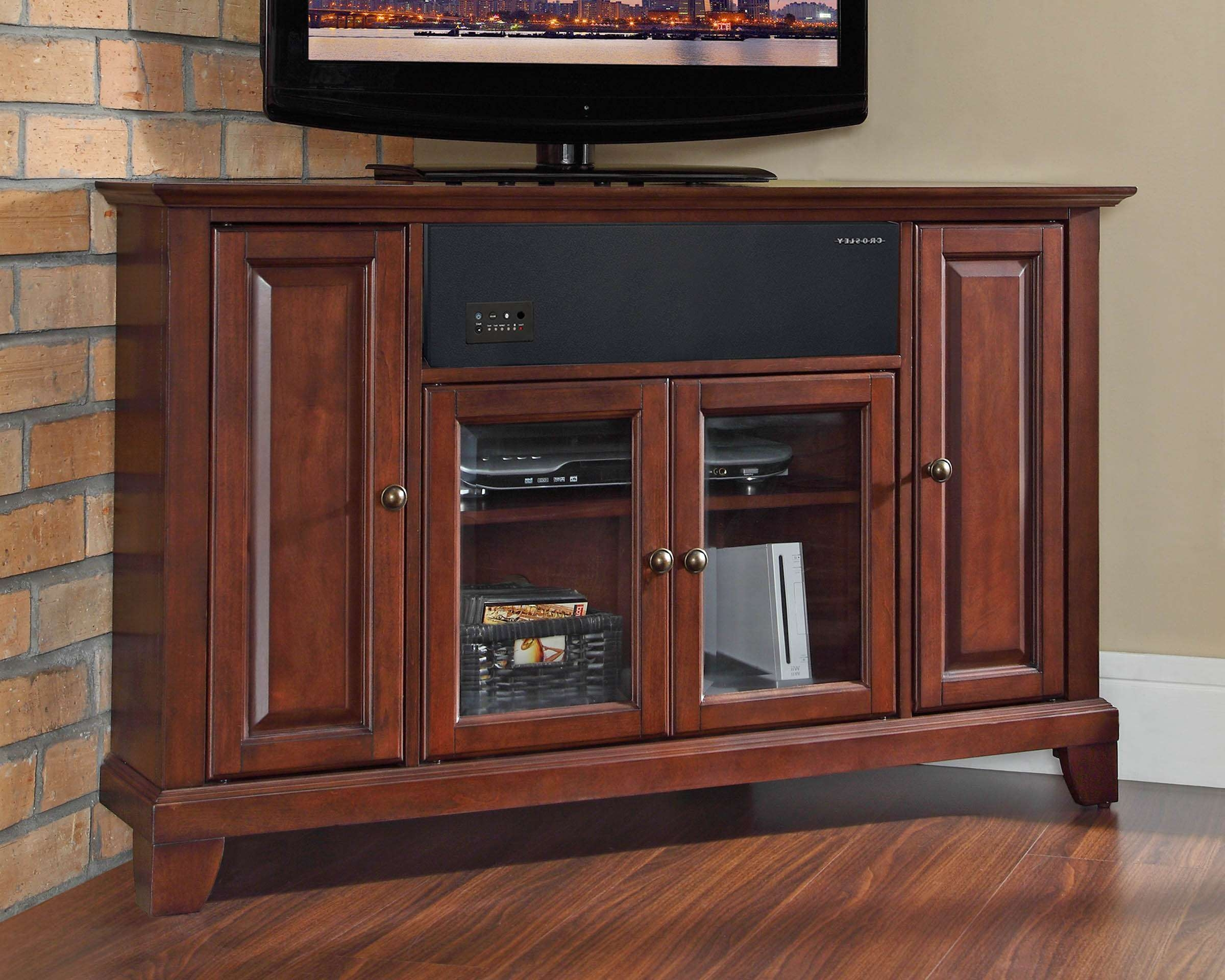 Crosley Furniture Newport 48 Inch Corner Aroundsound Tv Stand In With Regard To Mahogany Corner Tv Cabinets (View 7 of 20)