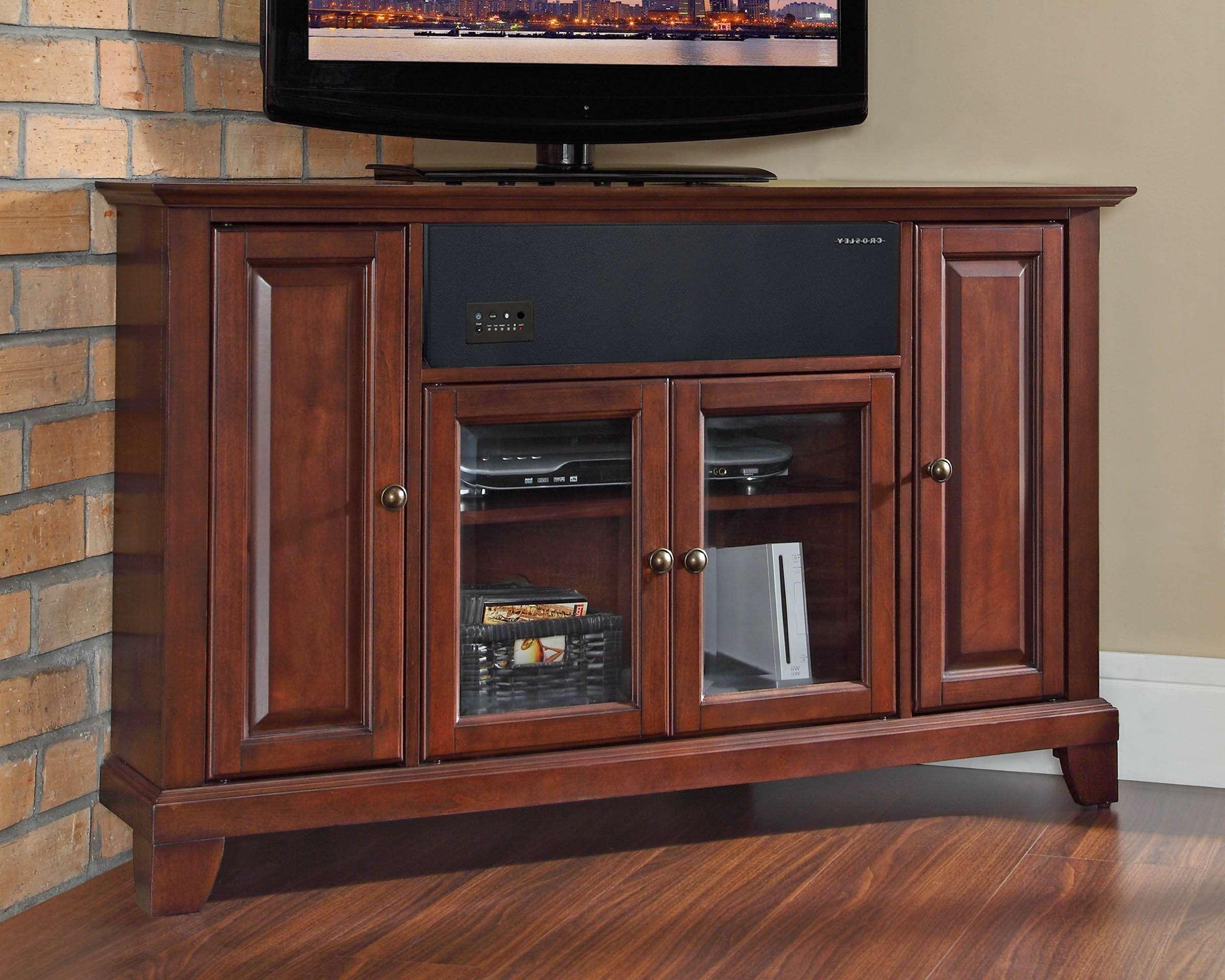 Crosley Furniture Newport 48 Inch Corner Aroundsound Tv Stand In With Regard To Mahogany Corner Tv Cabinets (View 12 of 20)