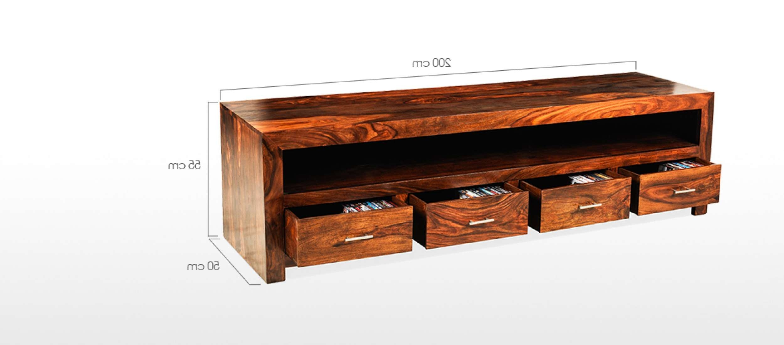 Cube Sheesham Long Plasma Tv Cabinet | Quercus Living For Long Oak Tv Stands (View 6 of 20)