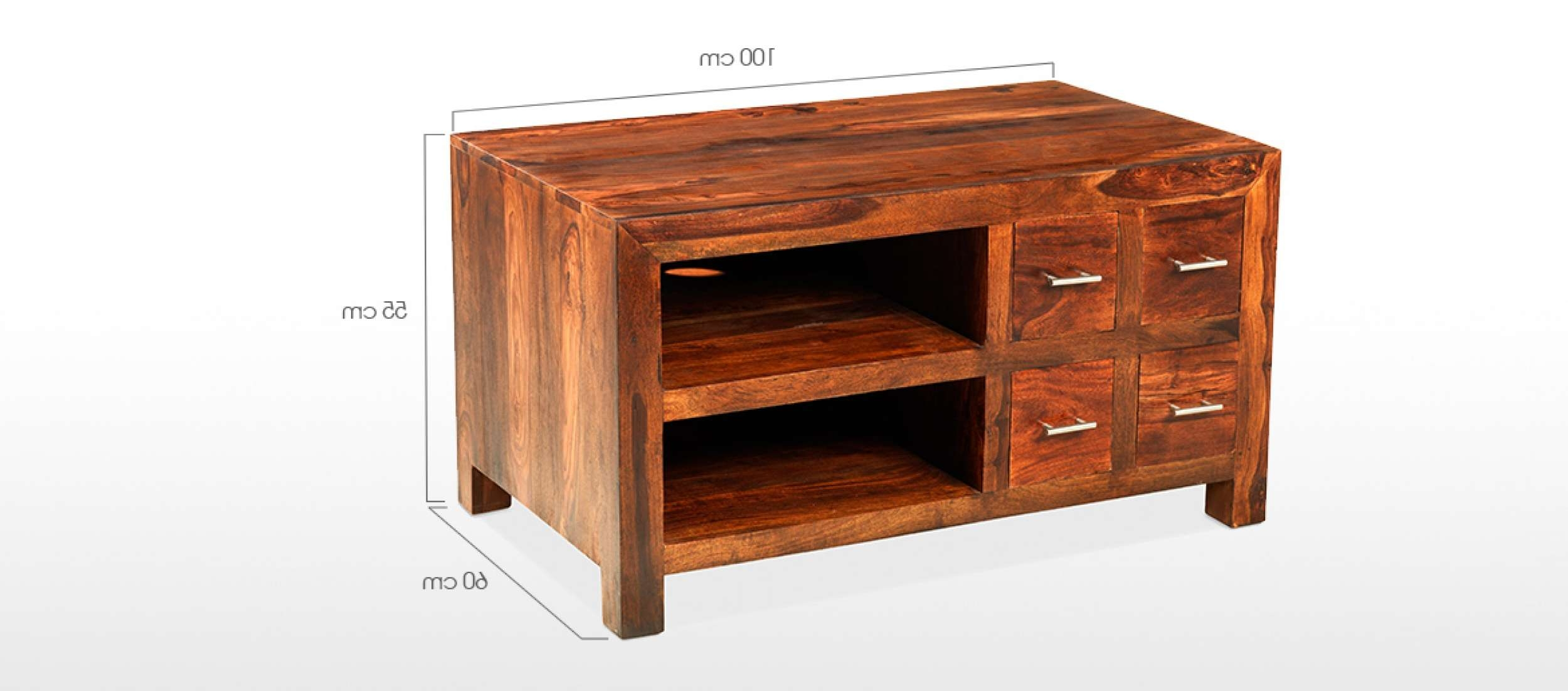Cube Sheesham Tv Cabinet | Quercus Living Inside Sheesham Tv Stands (View 6 of 15)