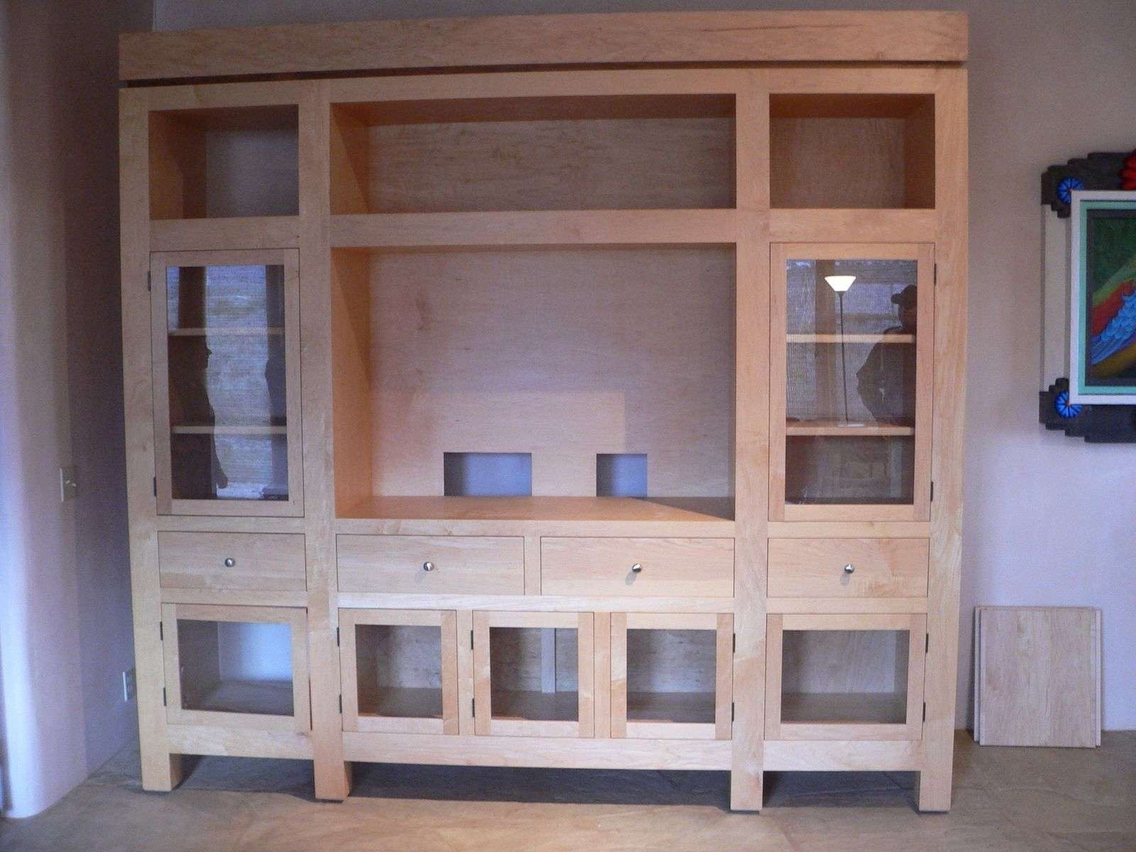 Custom Diy Unfinished Oak Tv Stand Cabinet With Glass Door Drawer Pertaining To Oak Tv Stands With Glass Doors (View 5 of 15)