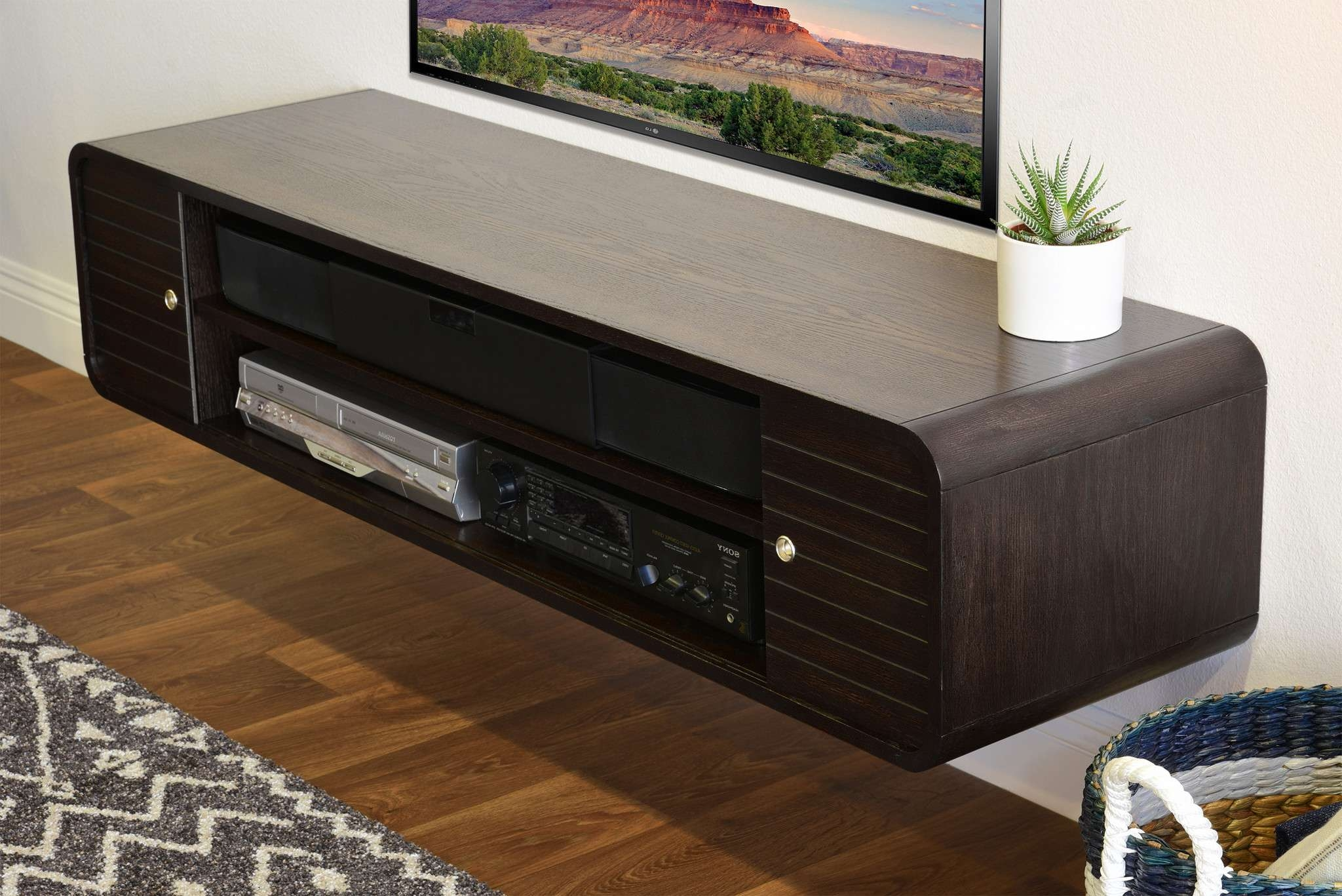 Dainty Tv Console Floating Wall Mount Open Shelf Brown Floating Within Round Tv Stands (View 9 of 15)