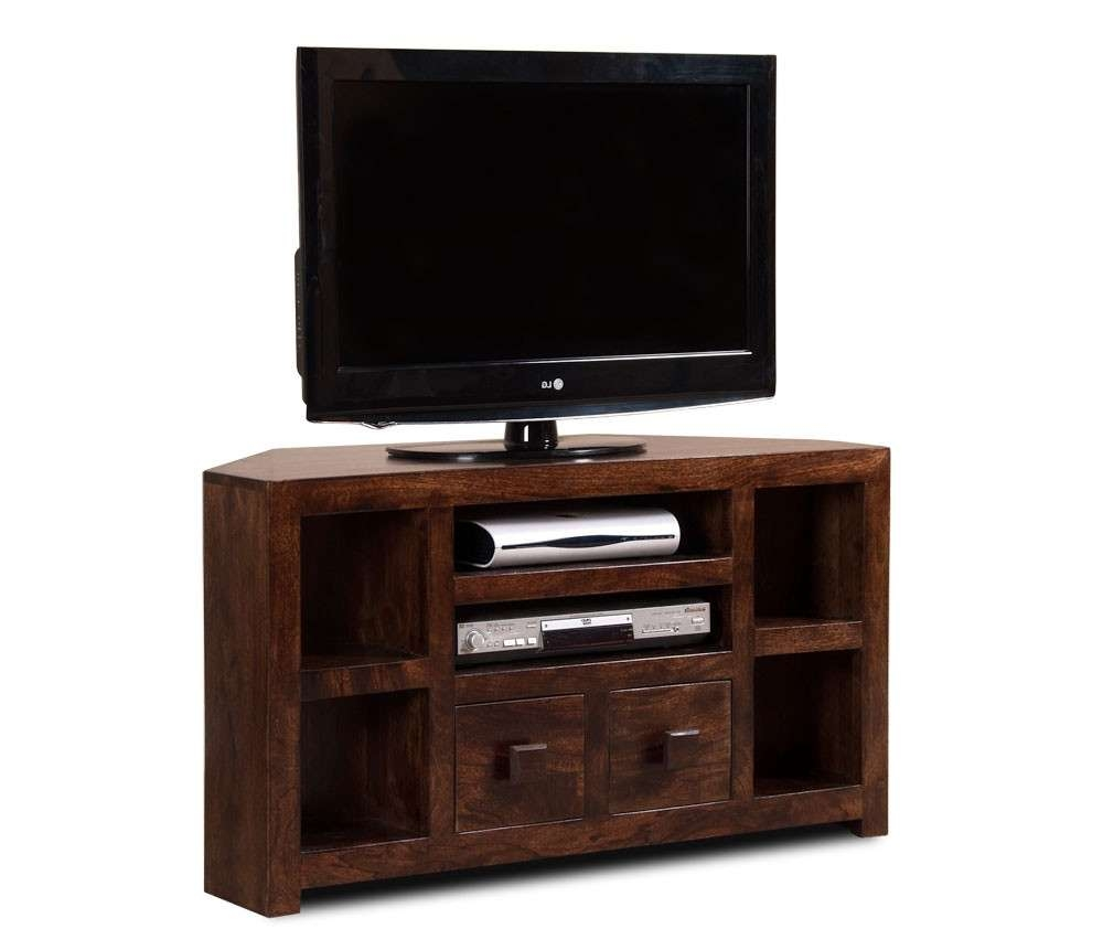 Dakota Dark Mango Corner Tv Unit | Casa Bella Furniture Uk Inside Dark Wood Tv Stands (View 5 of 20)