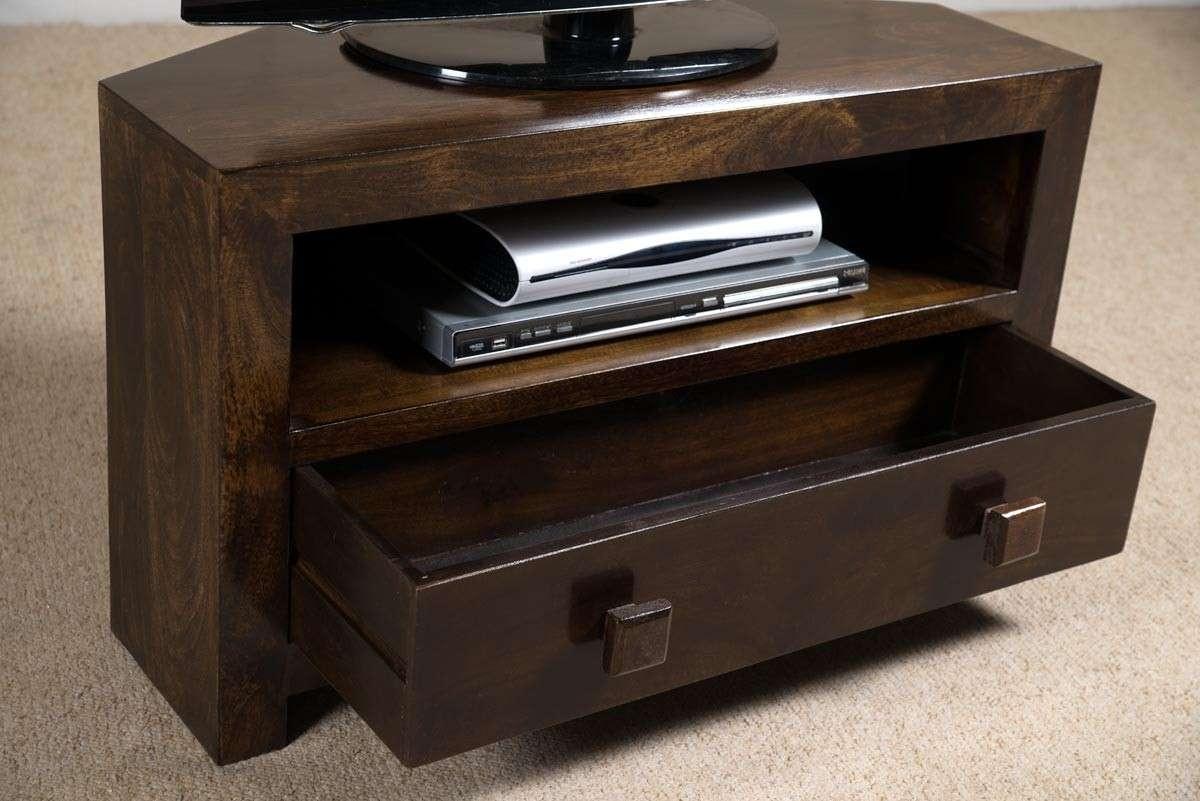 Dakota Dark Mango Small Corner Tv Stand | Casa Bella Furniture Uk Throughout Wood Corner Tv Cabinets (View 6 of 20)