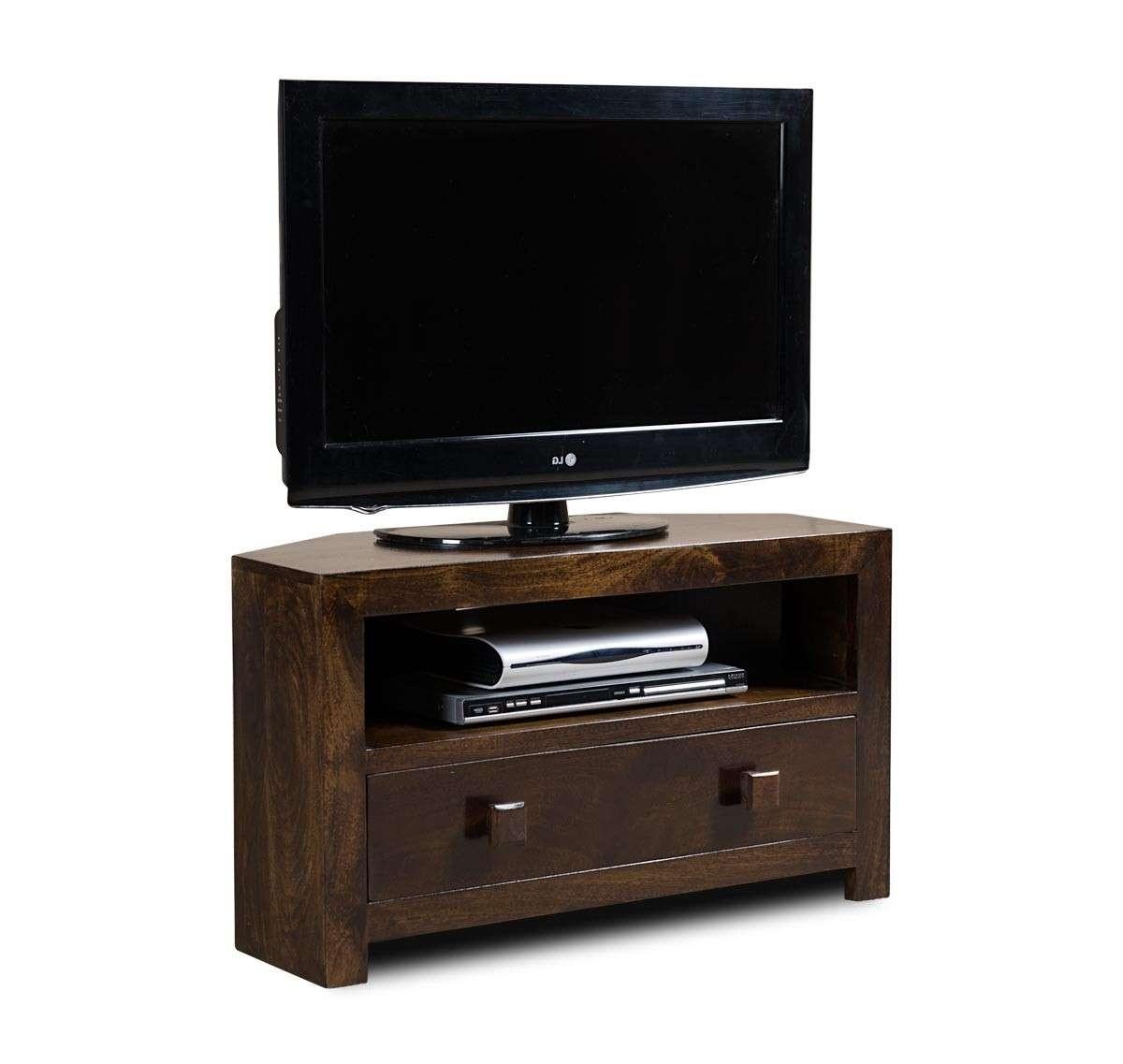 Dakota Dark Mango Small Corner Tv Stand | Casa Bella Furniture Uk Within Dark Brown Corner Tv Stands (View 19 of 20)