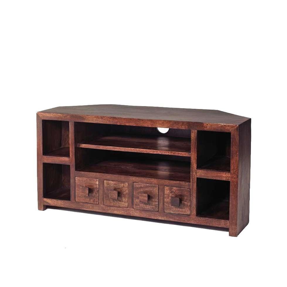 Dakota Mango Corner Tv Unit – Verty Indian Furniture Pertaining To Mango Wood Tv Cabinets (View 8 of 20)