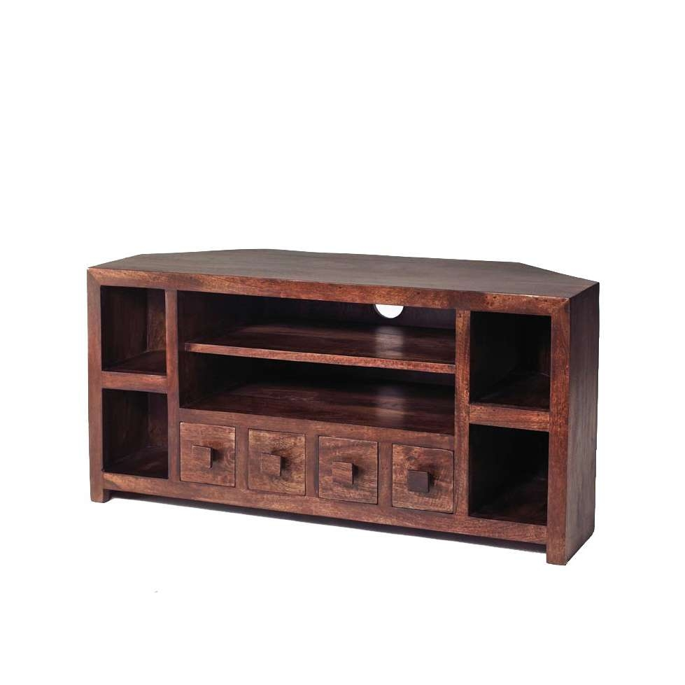 Dakota Mango Corner Tv Unit – Verty Indian Furniture With Regard To Wooden Corner Tv Cabinets (View 4 of 20)
