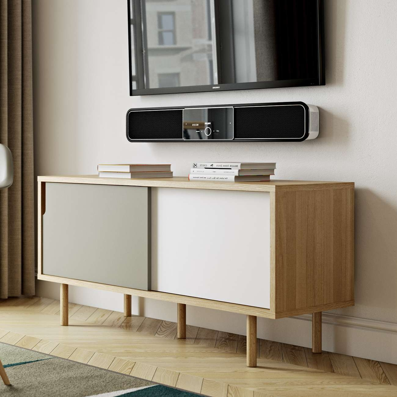 Dann Tv Stand | Oak / Pure White / Grey, Tema Home – Modern Manhattan With White And Wood Tv Stands (View 3 of 15)
