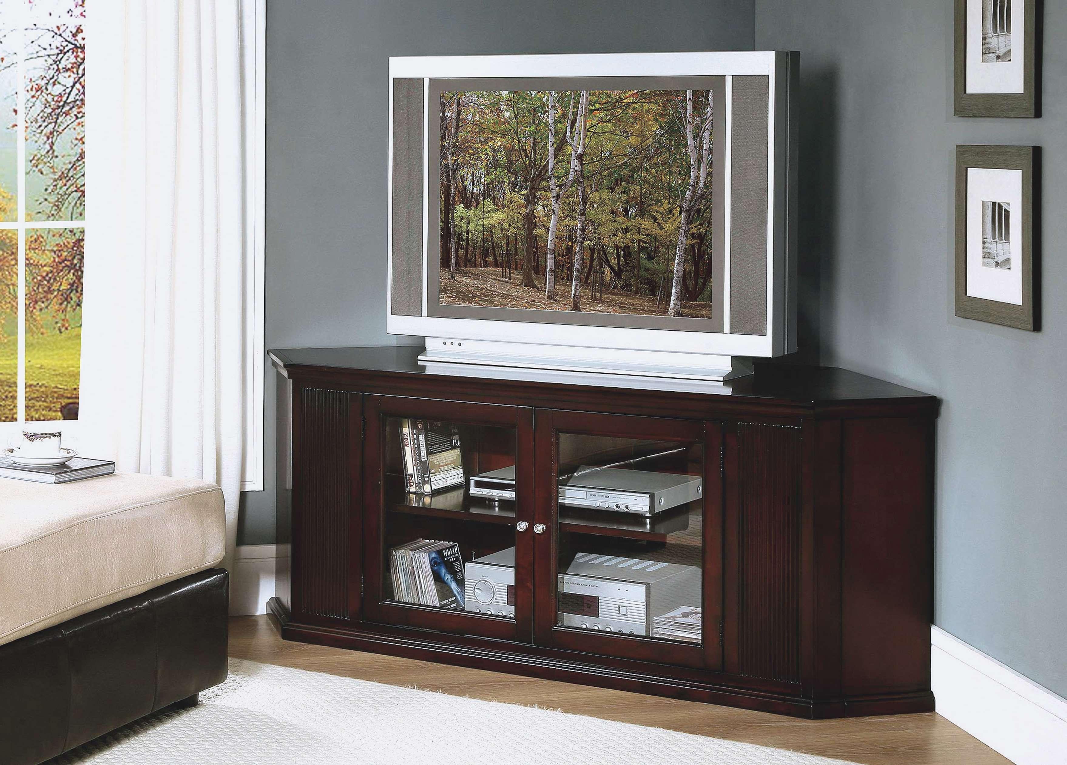 Dark Brown Oak Wood Corner Tv Stand With Glass Doors Of Dazzling Throughout Dark Brown Corner Tv Stands (View 10 of 20)