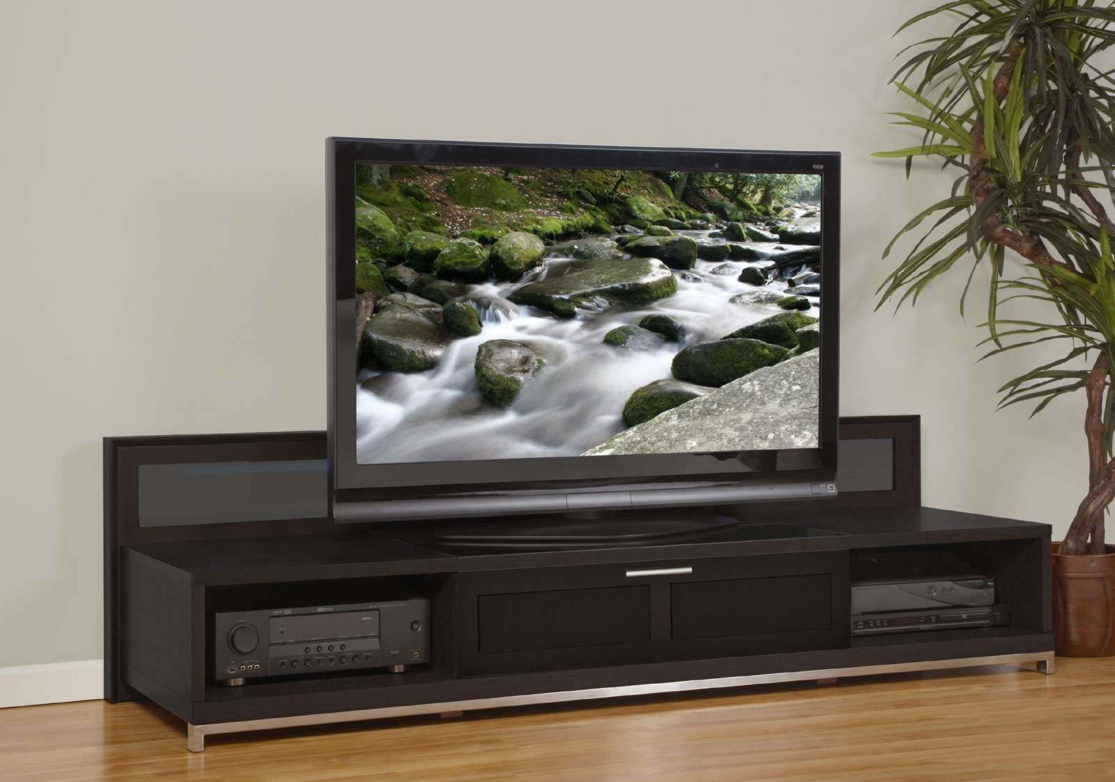 Dark Brown Stained Mahogany Wood Low Tv Stand With Cast Iron In Dark Tv Stands (View 14 of 15)