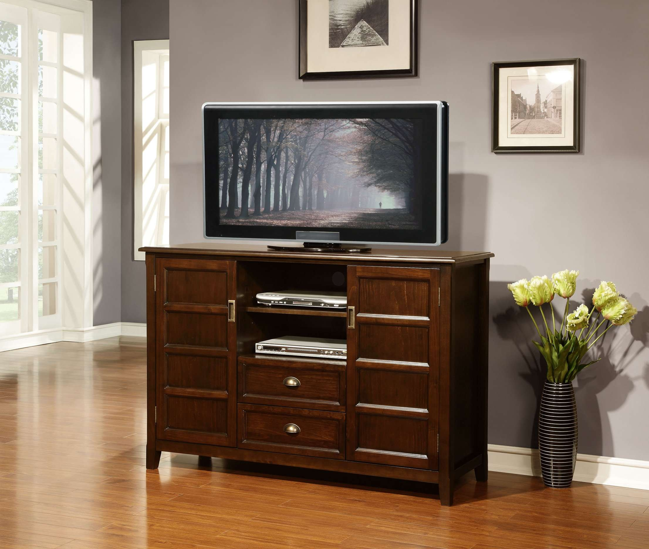 Dark Brown Stained Tv Stand With Two Shelves And Drawers On The Pertaining To Tv Stands With Drawers And Shelves (View 3 of 15)