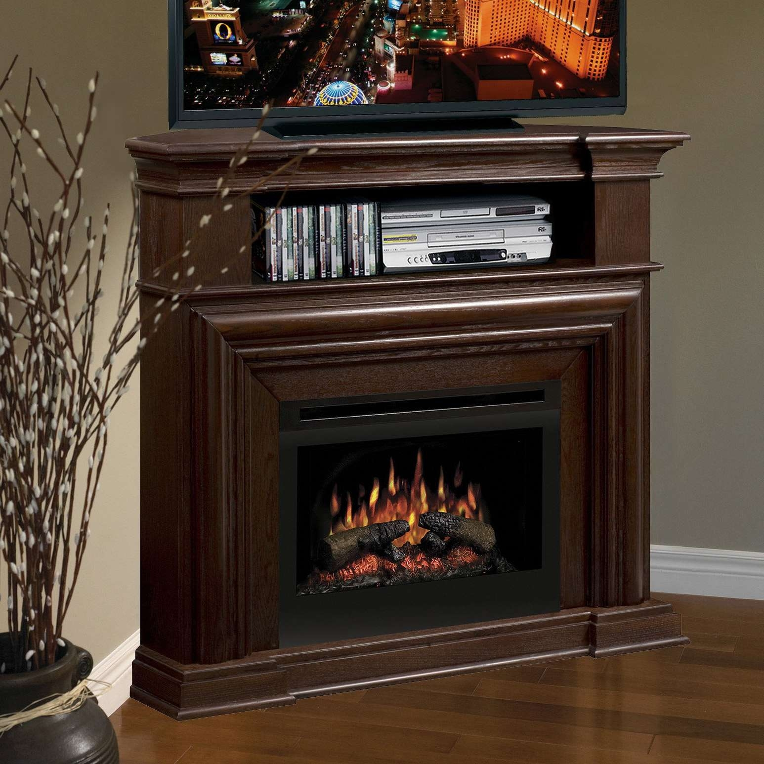 Dark Brown Wooden Corner Tv Stand With Black Metal Fireplace And Within Dark Brown Corner Tv Stands (View 12 of 20)