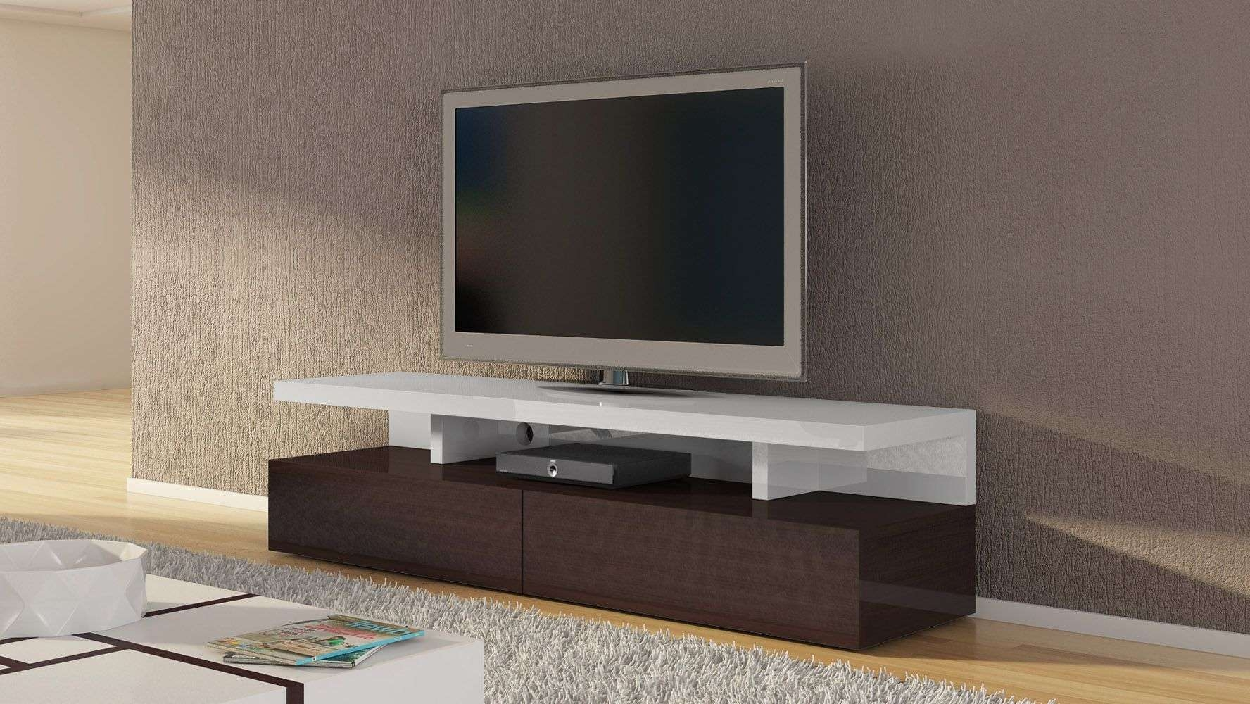 Dark Wood And White High Gloss Lacquer Mcintosh 71 Inch Tv Stand Intended For White Wooden Tv Stands (View 10 of 20)