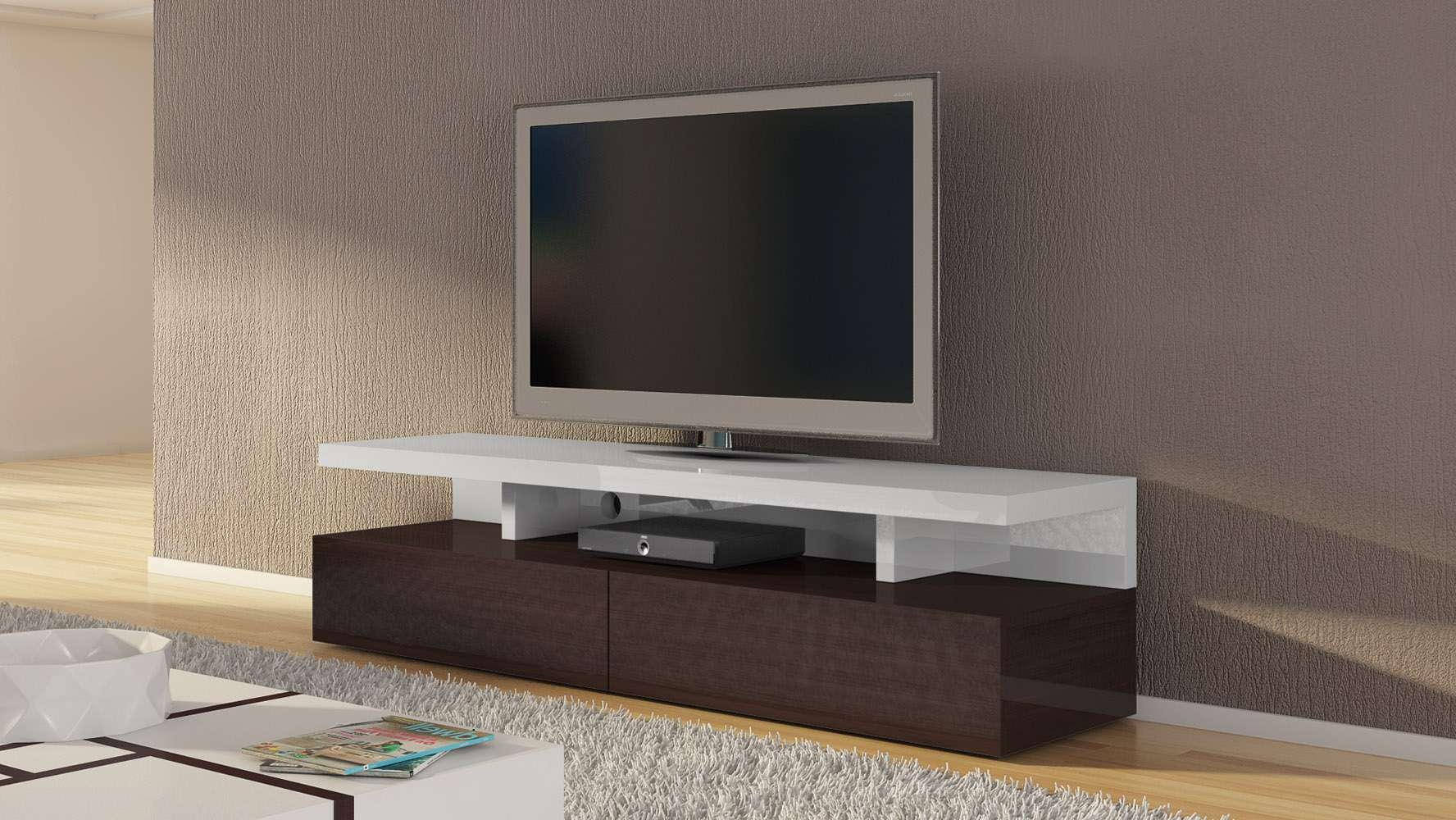 Dark Wood And White High Gloss Lacquer Mcintosh 71 Inch Tv Stand Within White Tv Stands (View 7 of 15)