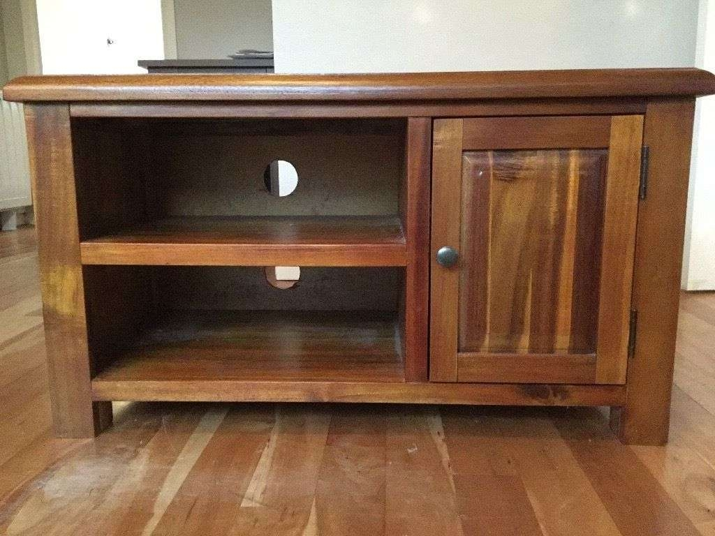 Dark Wood Tv Stand Table With Storage Cupboard And Shelves (View 7 of 20)