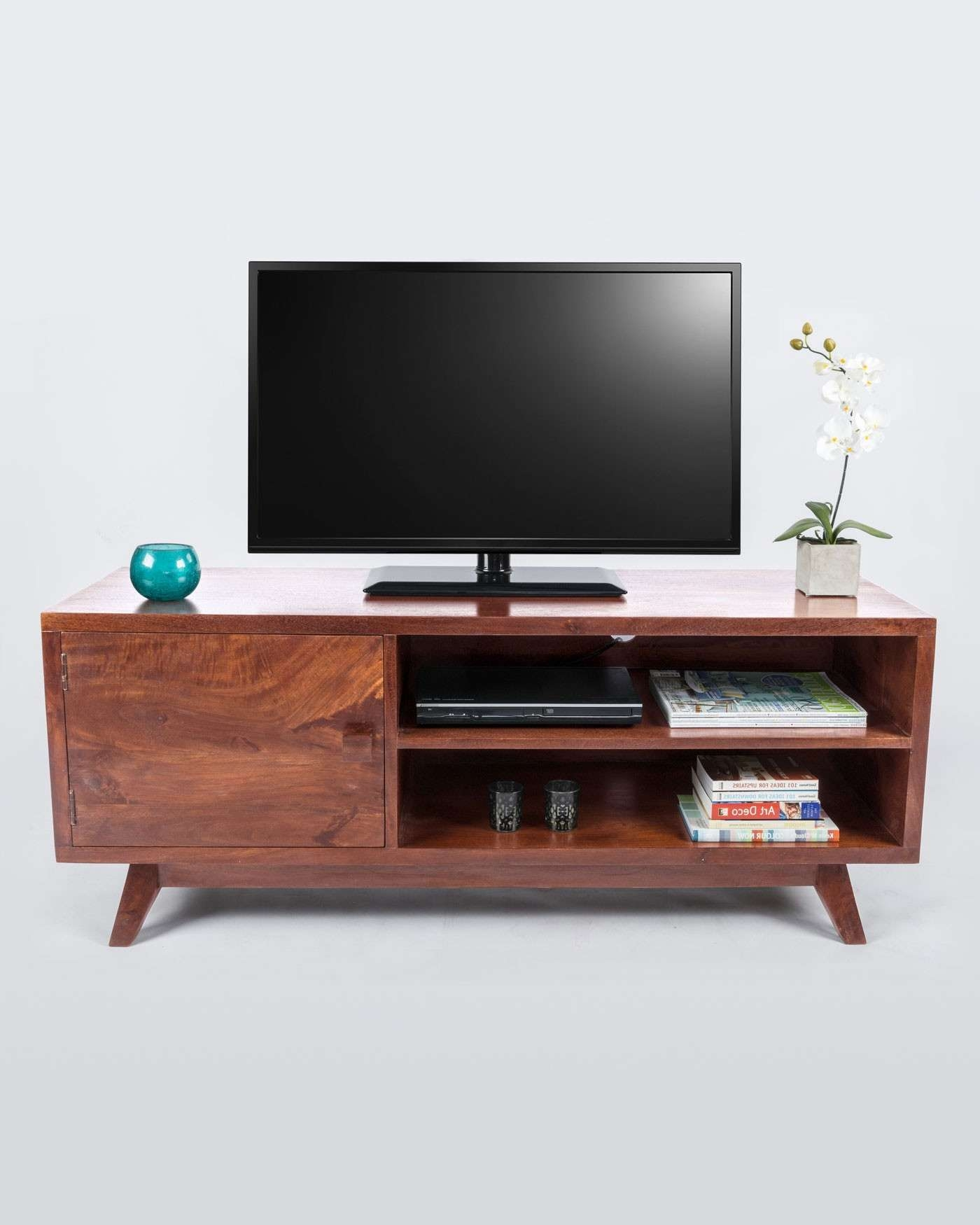 Dark Wood Tv Stand With Shelf Retro Design 100% Solid Wood Within Dark Tv Stands (View 9 of 15)