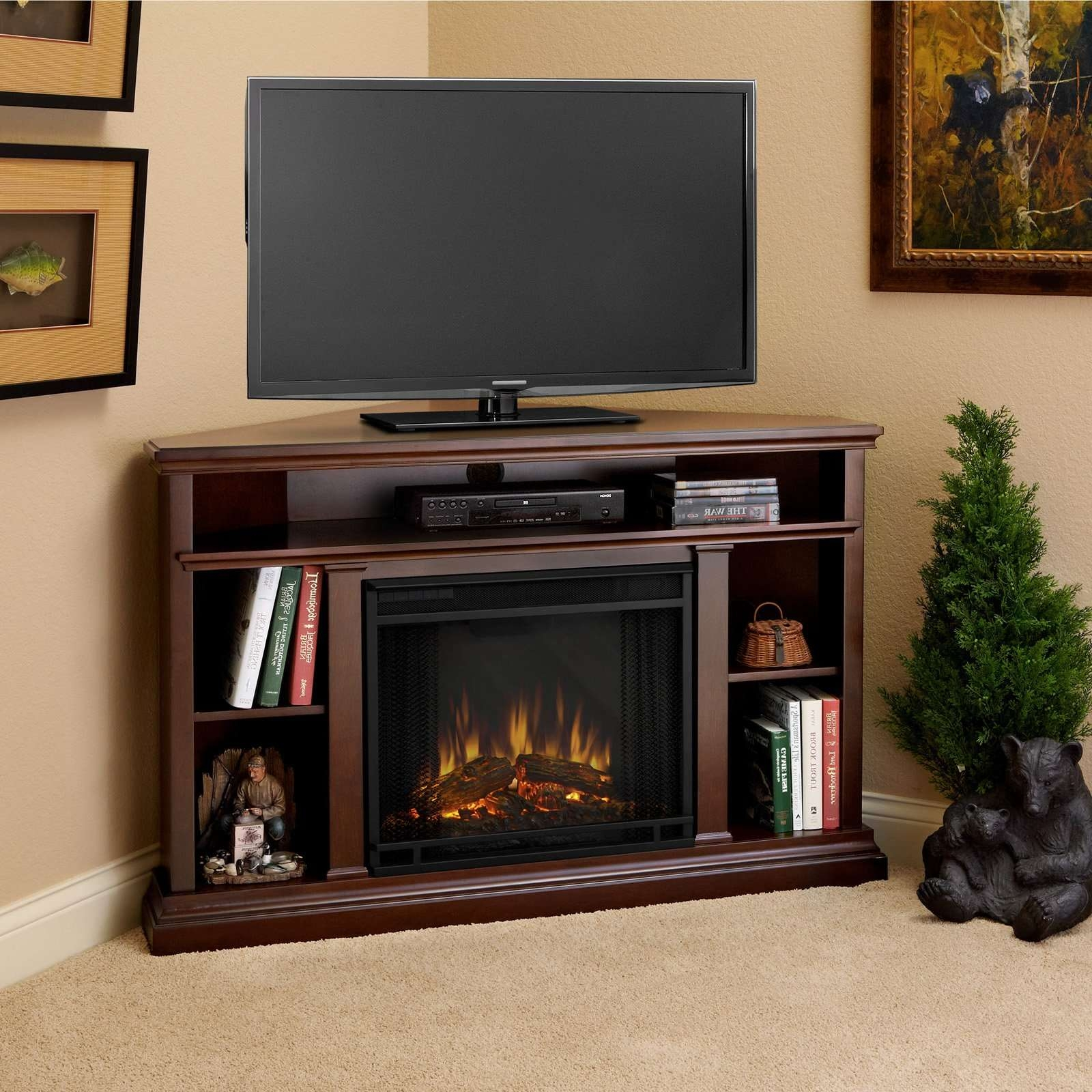 Decorating: Dark Wood Corner Tv Stand With Electric Fireplace With Dark Wood Corner Tv Stands (View 11 of 15)