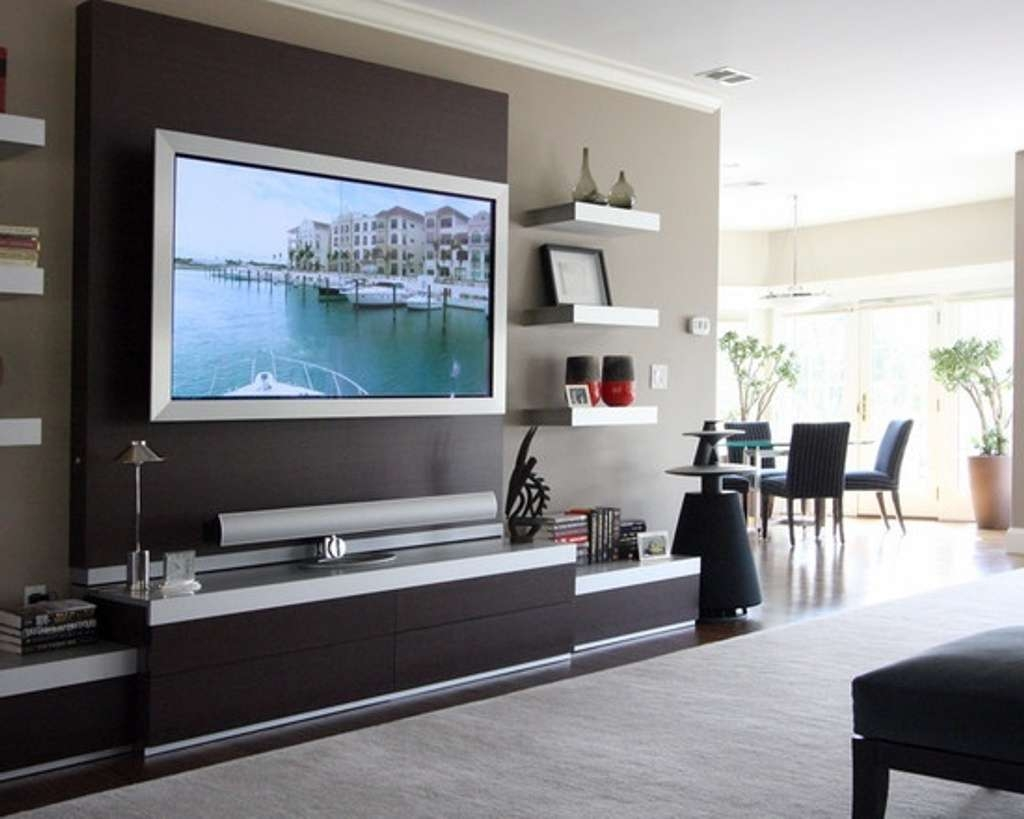 Decorative Wall Mount Tv Design With Modern Tv Stand For Throughout Modern Wall Mount Tv Stands (View 7 of 20)