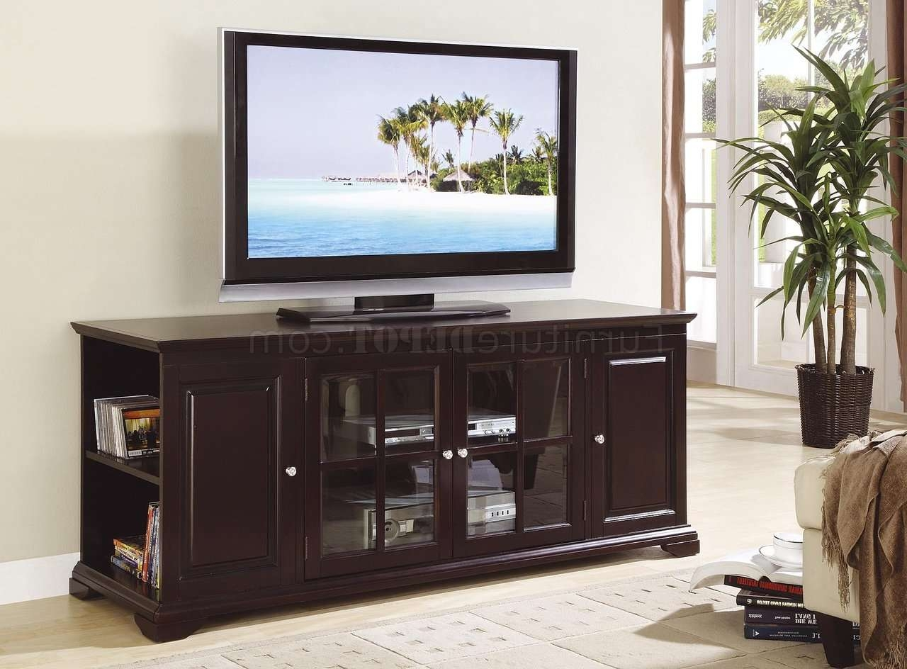 Deep Rich Espresso Finish Classic Tv Stand W/open Side Storage For Classic Tv Stands (View 6 of 15)