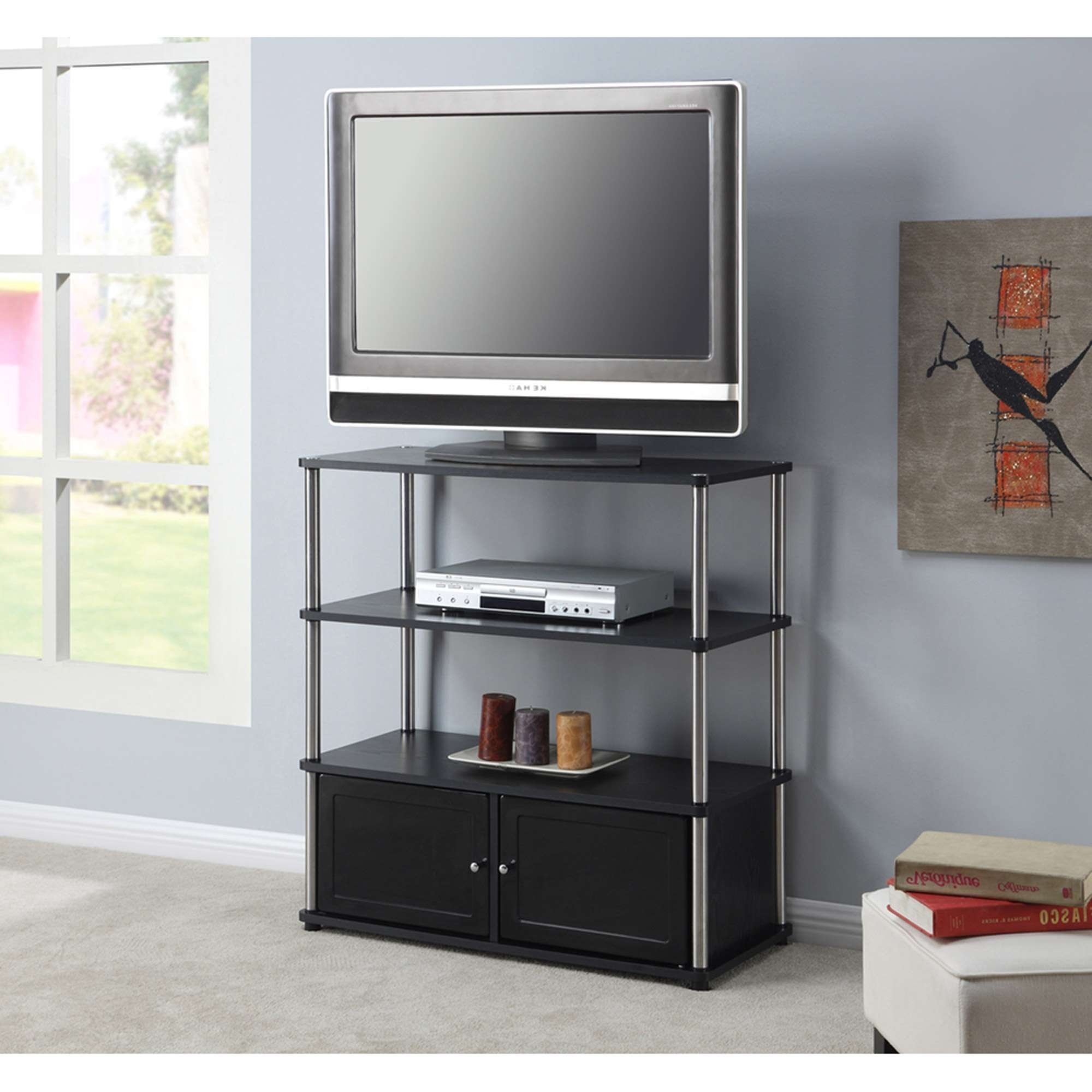"Designs 2 Go High Boy Tv Stand In Black, For Tvs Up To 37"" In White Tall Tv Stands (View 4 of 15)"
