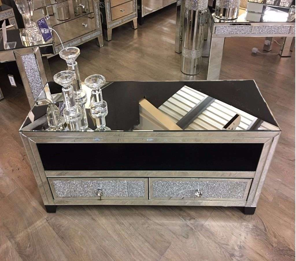Diamond Crush Mirrored Tv Stand / Entertainment Unit | In Pertaining To Mirrored Tv Stands (View 2 of 15)