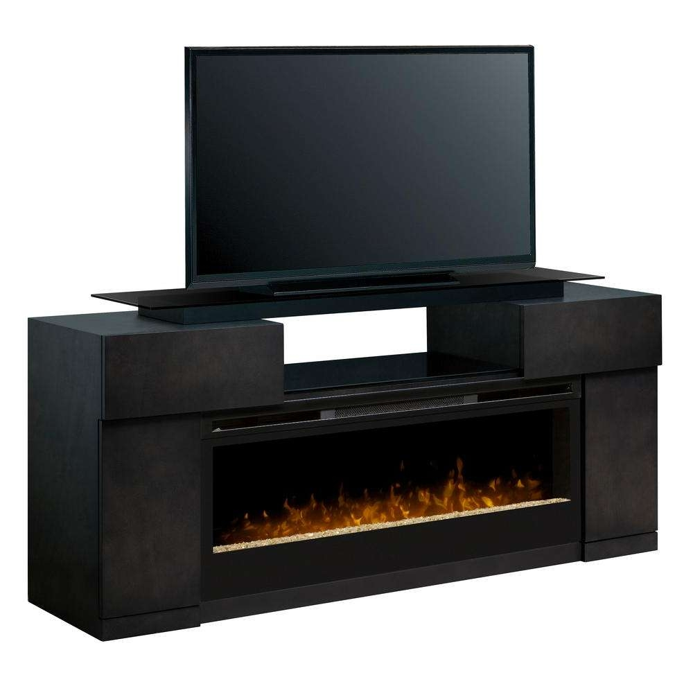 "Dimplex Concord 73"" Freestanding Electric Media Console In Silver Within Freestanding Tv Stands (View 4 of 15)"