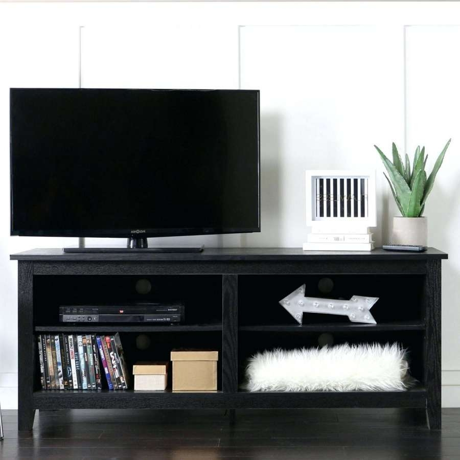 Distressed Black Tv Stand Wood Media Storage Console Corner Intended For Dark Wood Tv Stands (View 8 of 15)