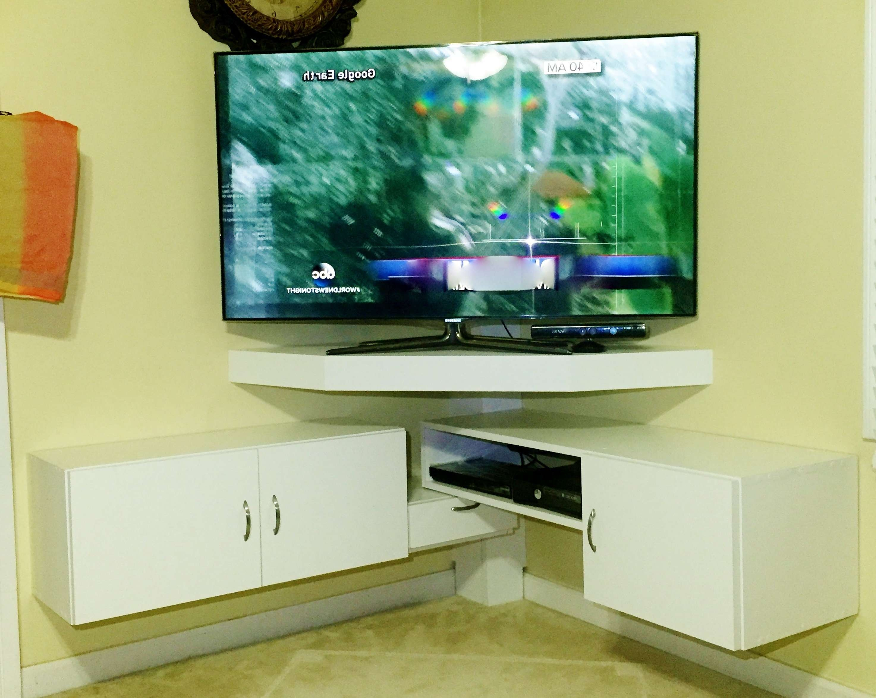Diy – Corner Tv Stand – Youtube In Corner Unit Tv Stands (View 5 of 15)