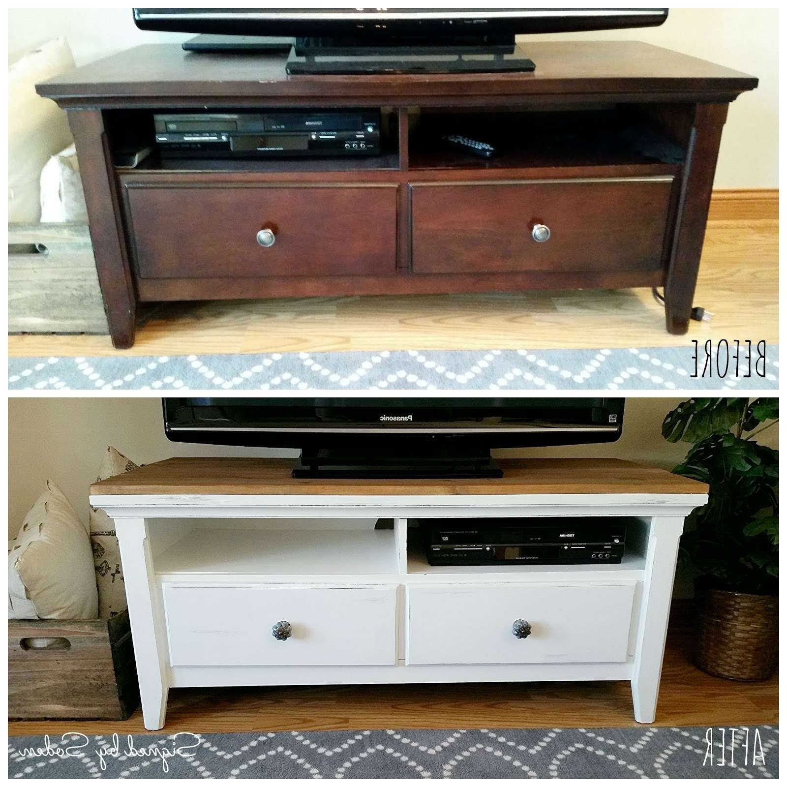 Diy: Rustic Coffee Table And Tv Stand Makeover – Signedsoden Pertaining To Rustic Coffee Table And Tv Stands (View 6 of 15)