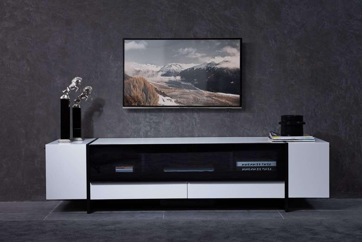 Domus Lorena Modern White & Gun Metal Black Tv Stand In Modern White Tv Stands (View 2 of 15)
