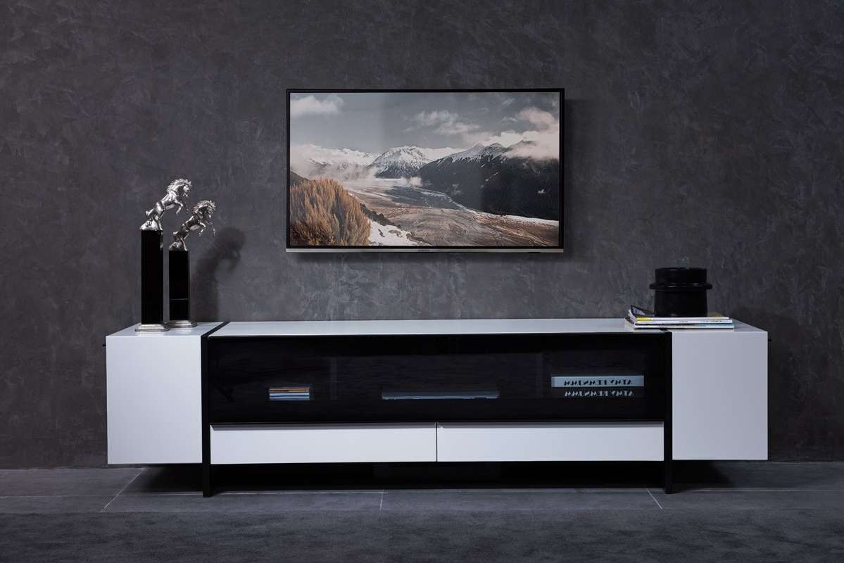 Domus Lorena Modern White & Gun Metal Black Tv Stand Intended For Modern White Tv Stands (View 14 of 15)