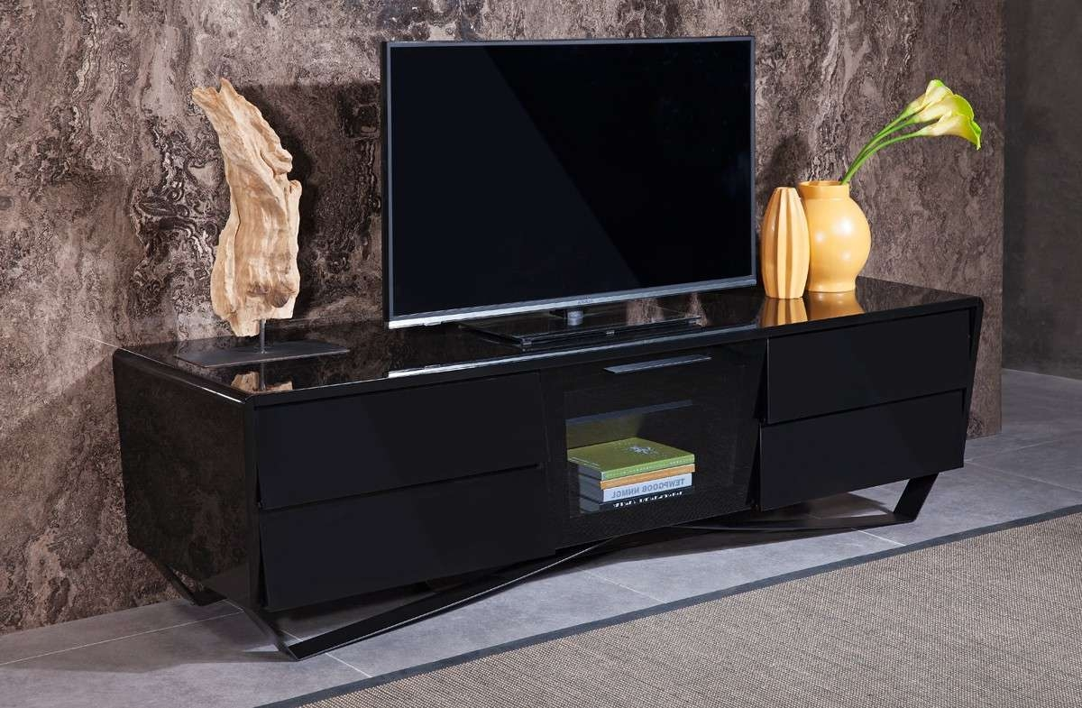 Domus Max Modern Black Tv Stand Throughout Black Modern Tv Stands (View 6 of 15)