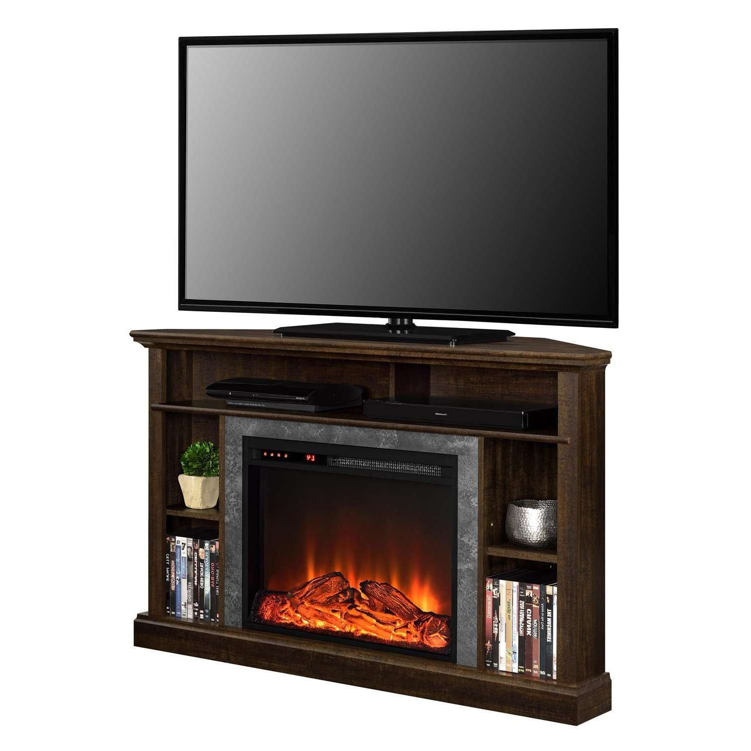 Dorel Overland Electric Fireplace Corner Tv Stand | Walmart Canada With Regard To Tv Stands For Corner (View 5 of 15)