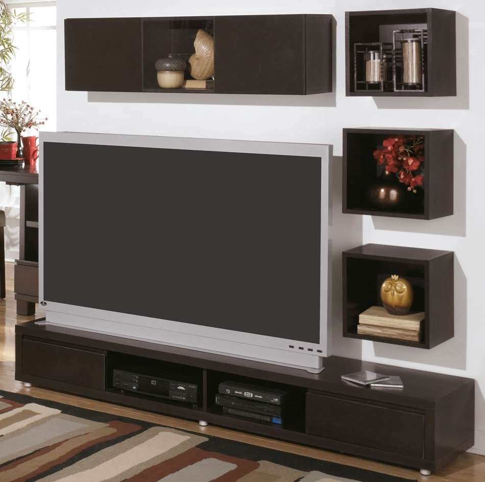 Beau Modern Wall Mount Tv Stand And Floating Shelf Decor Idea On Inside Modern Wall  Mount