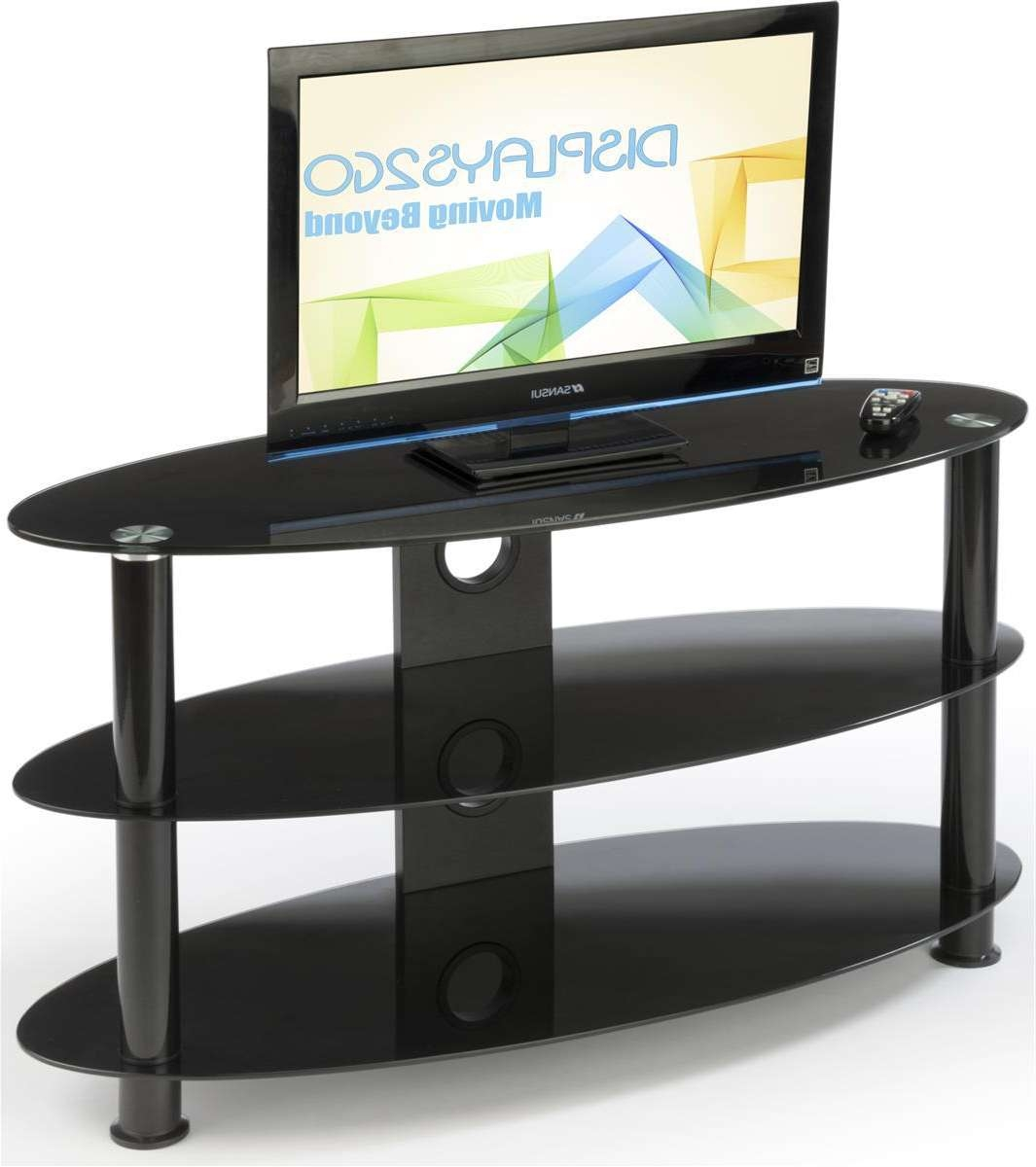 ✓ Oval Glass Tv Stand (3) Tempered Glass Shelves, Glass Tv Regarding Oval Glass Tv Stands (View 1 of 15)