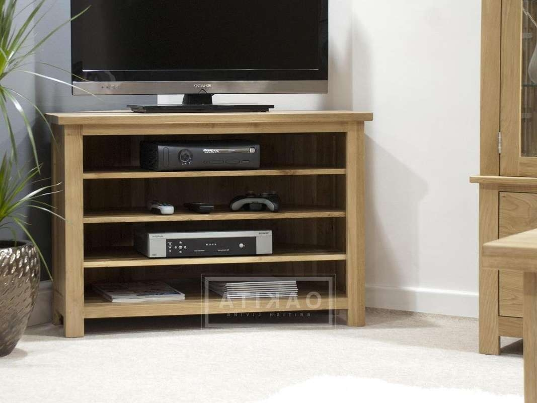Edinburgh Solid Oak Corner Tv Cabinet – Oak Tv Stands Inside Corner Tv Cabinets (View 5 of 20)