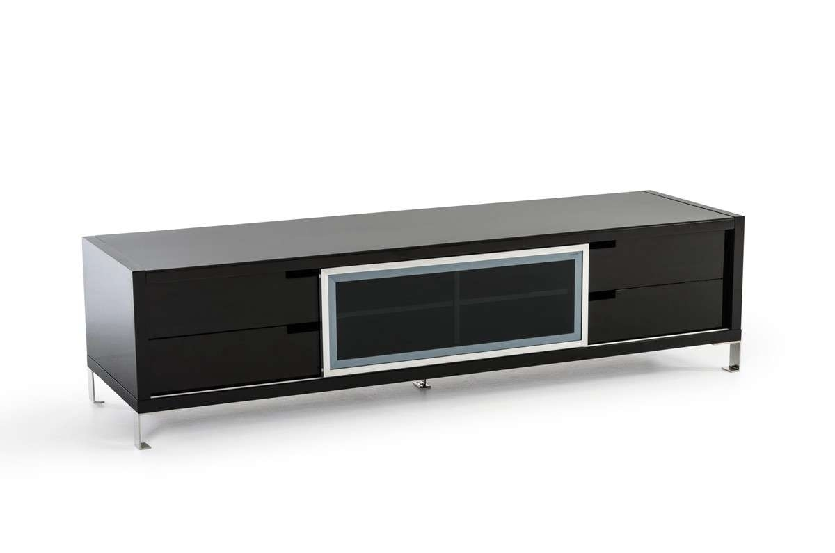 Edward Modern Black High Gloss Tv Stand Pertaining To Black Modern Tv Stands (View 2 of 15)