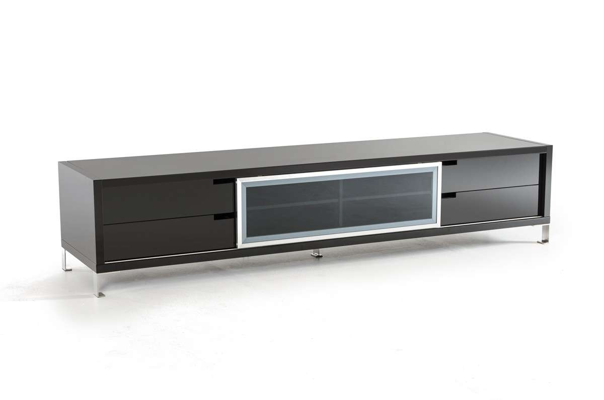 Edward Modern Large Black High Gloss Tv Stand With Regard To Long Black Tv Stands (View 2 of 15)