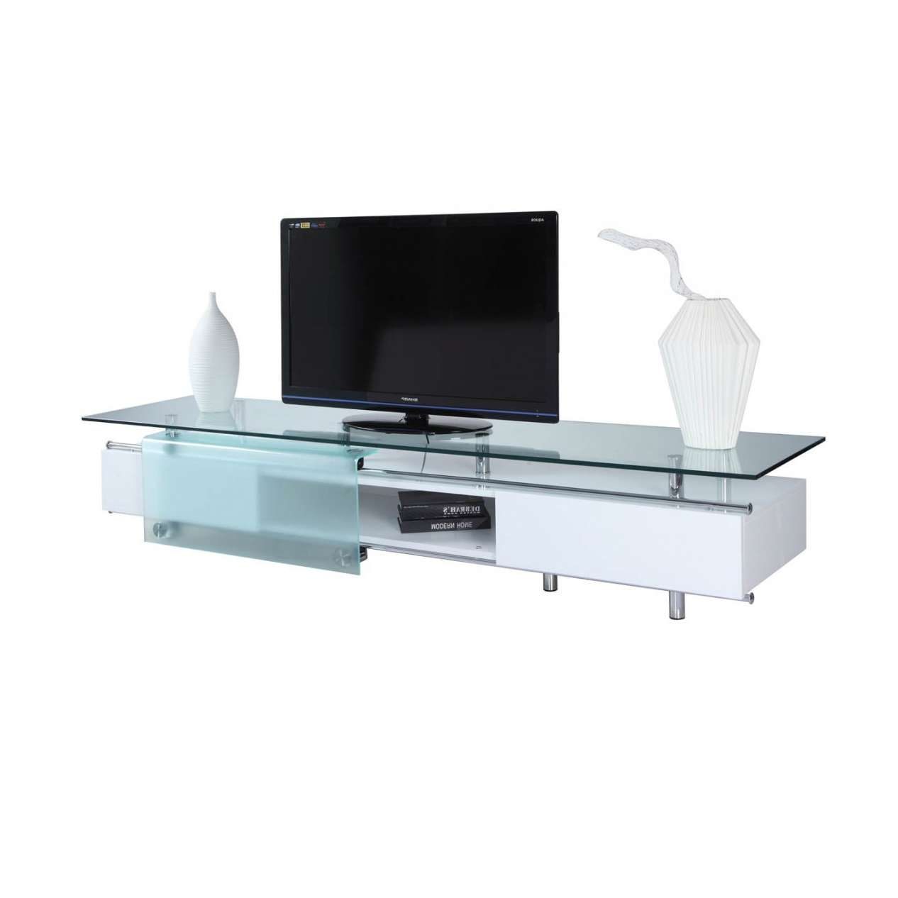 Ema High Gloss White Tv Stand, White Line Imports – Modern Manhattan Within White Glass Tv Stands (View 2 of 15)