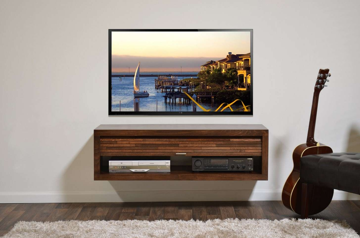 Entertainment Center Ideas For Flat Screens Display Stand Hanging With Regard To Single Shelf Tv Stands (View 4 of 20)