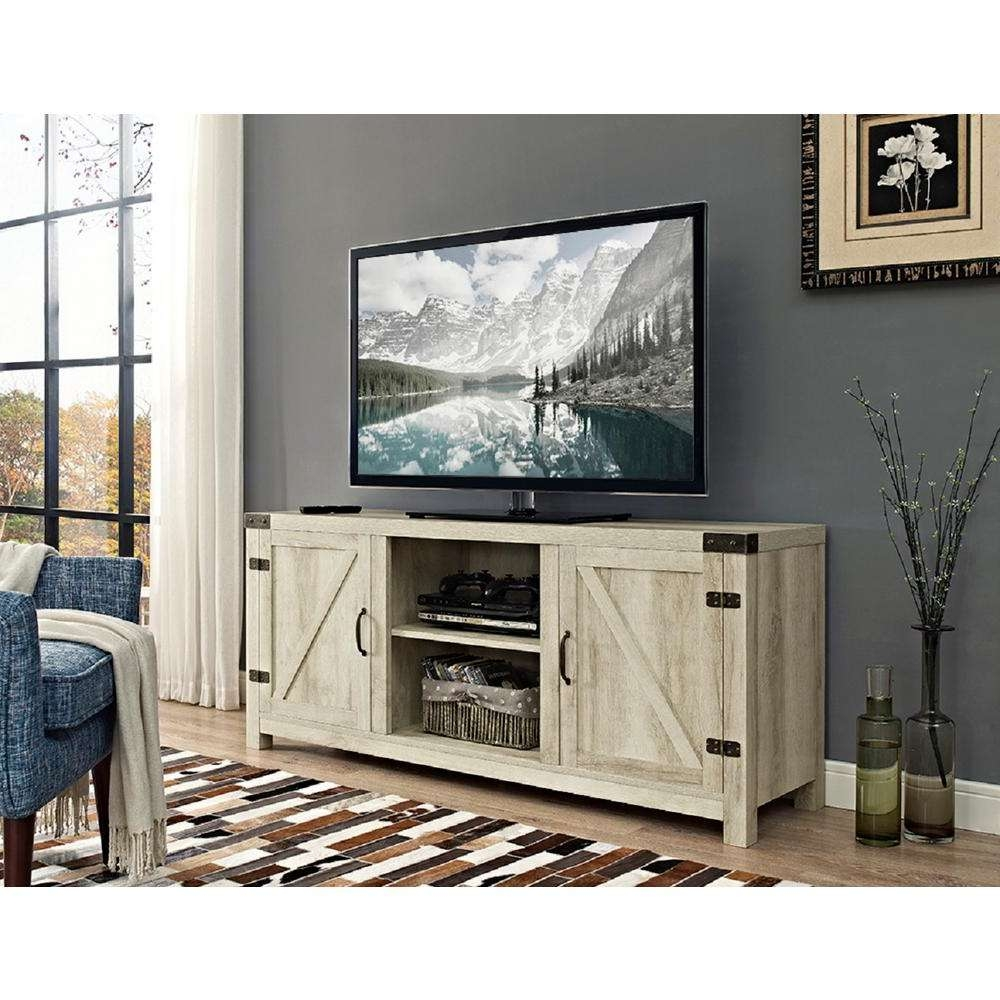 Entertainment Center – White – The Home Depot Intended For White Rustic Tv Stands (View 7 of 15)