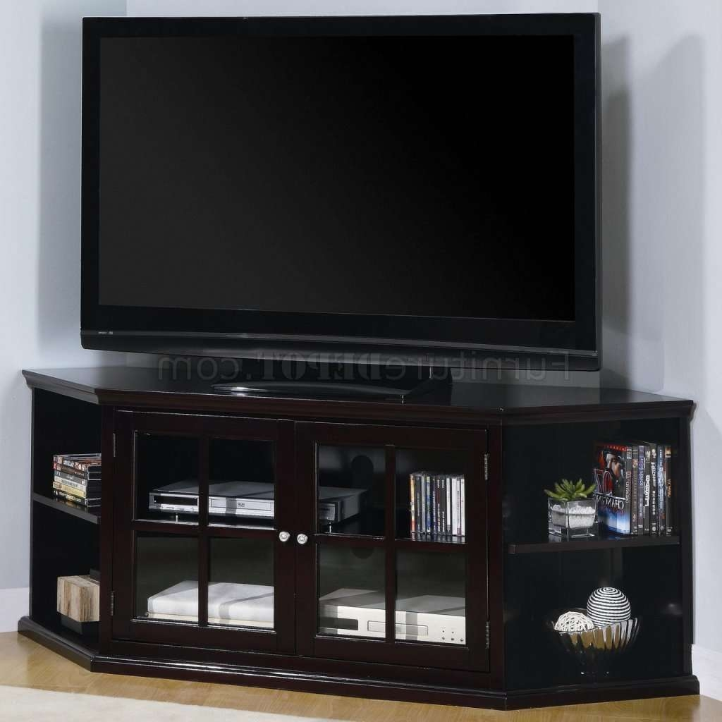 Espresso Finish Modern Corner Tv Stand W/2 Glass Doors & Shelves Regarding Contemporary Corner Tv Stands (View 5 of 15)