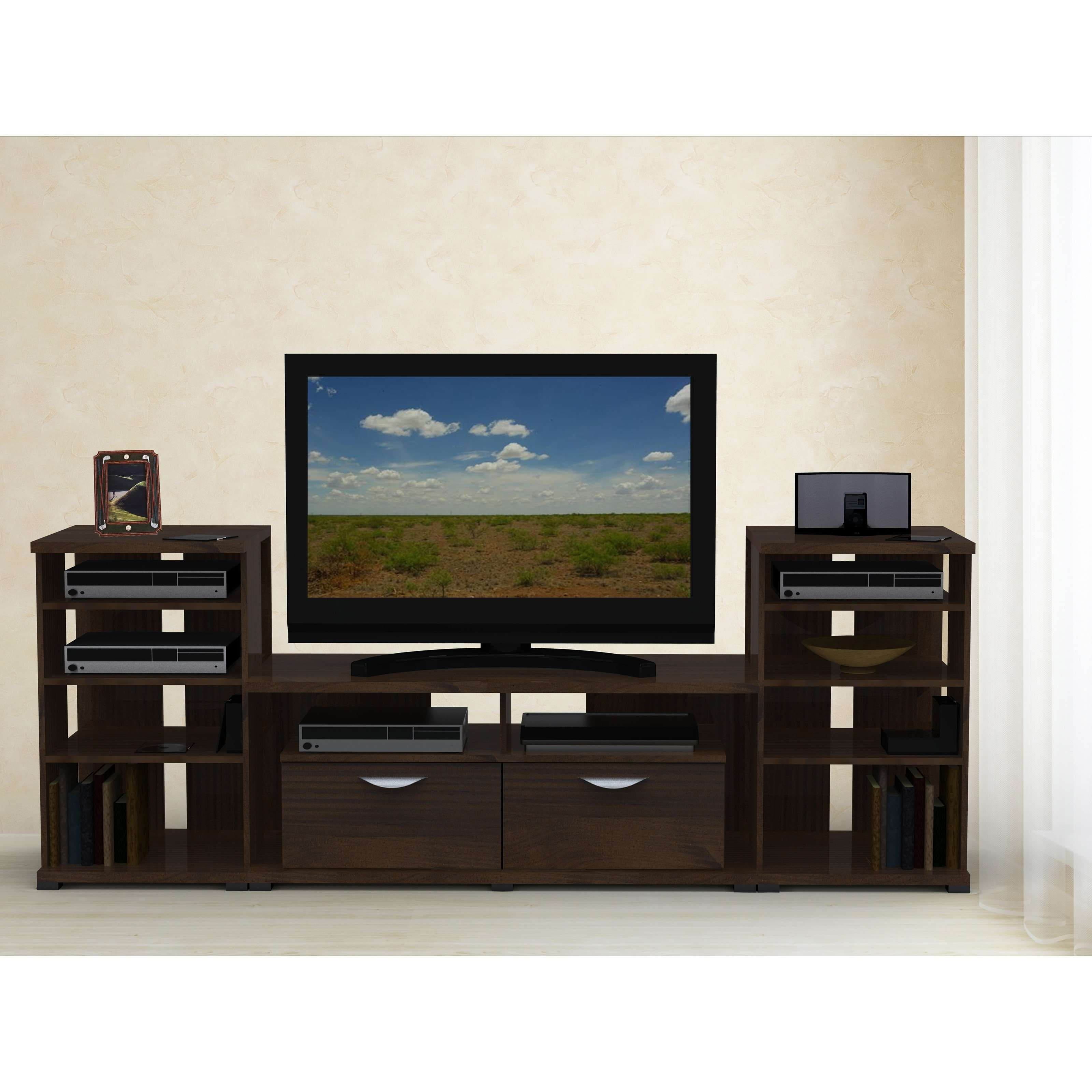 Espresso Lacquer Solid Wood Tv Stand And Media Entertainment Pertaining To Solid Wood Black Tv Stands (View 13 of 15)