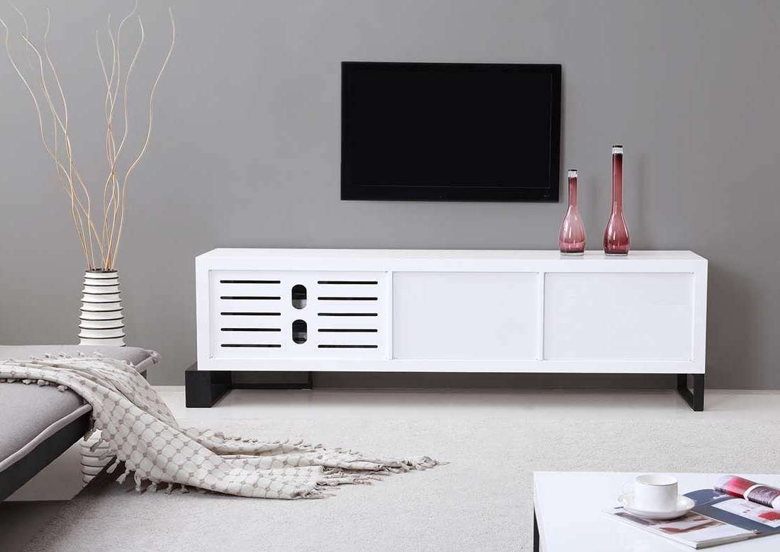 Extra Long Modern White Tv Stand Bm 36 | Tv Stands Inside White And Black Tv Stands (View 5 of 15)