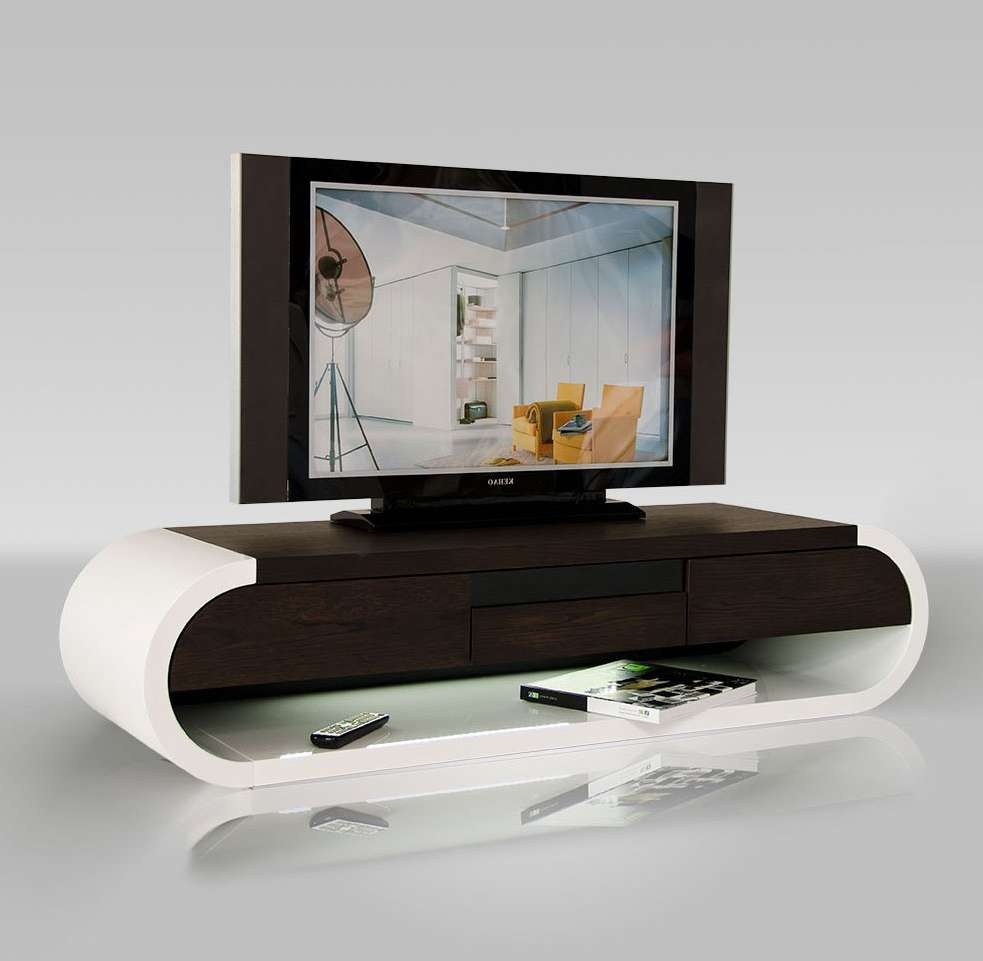 Extraordinary Modern Tv Stand Oval Shape Engineered Wood And Pertaining To Oval White Tv Stands (View 6 of 20)